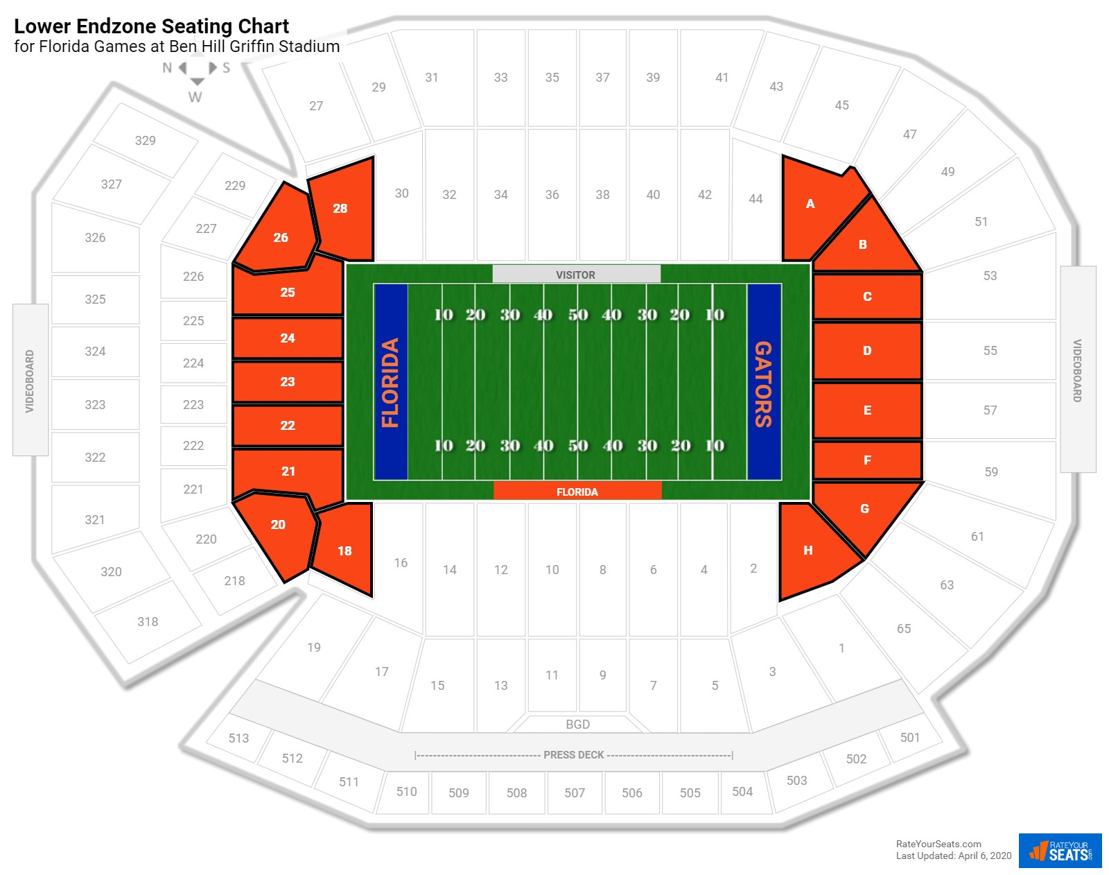 Ben Hill Griffin Stadium Lower Endzone seating chart
