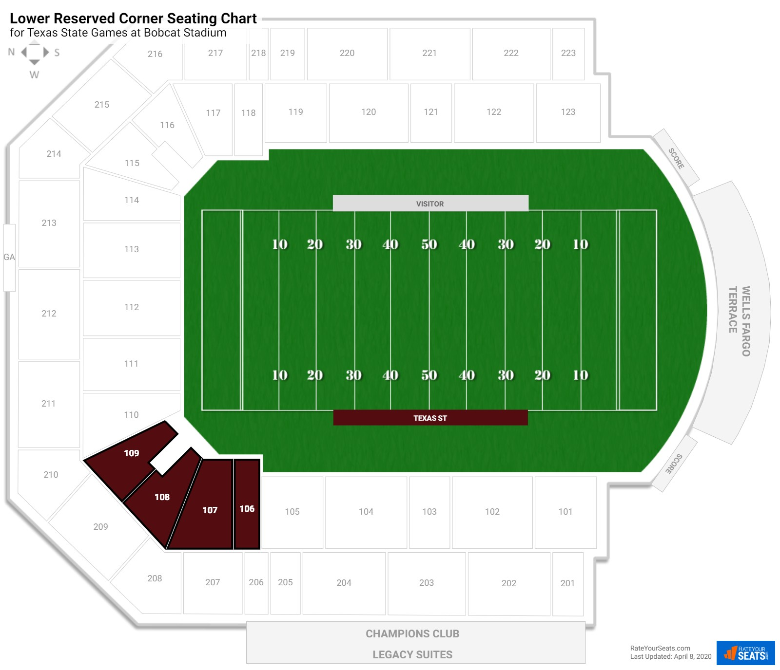 Bobcat Stadium Lower Reserved Corner seating chart