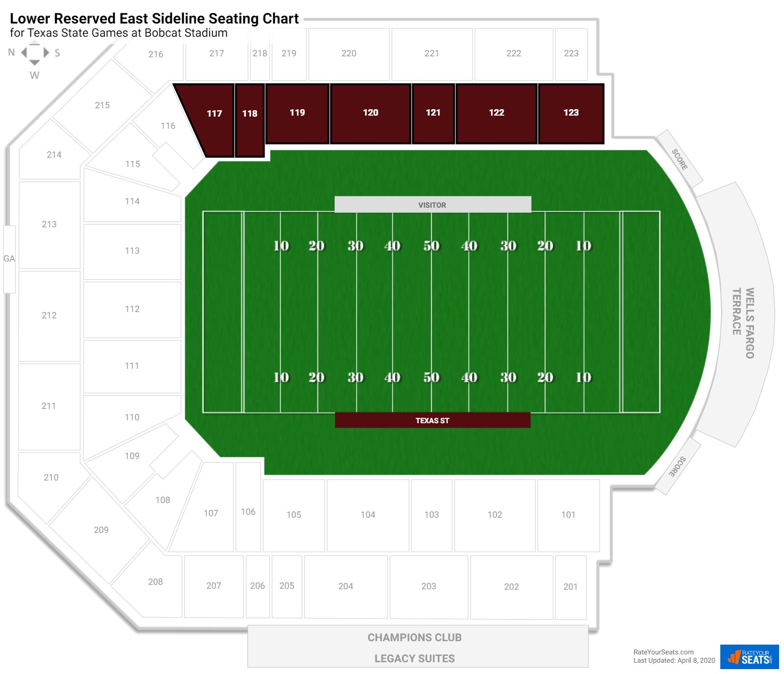 Bobcat Stadium Lower Reserved East Sideline seating chart