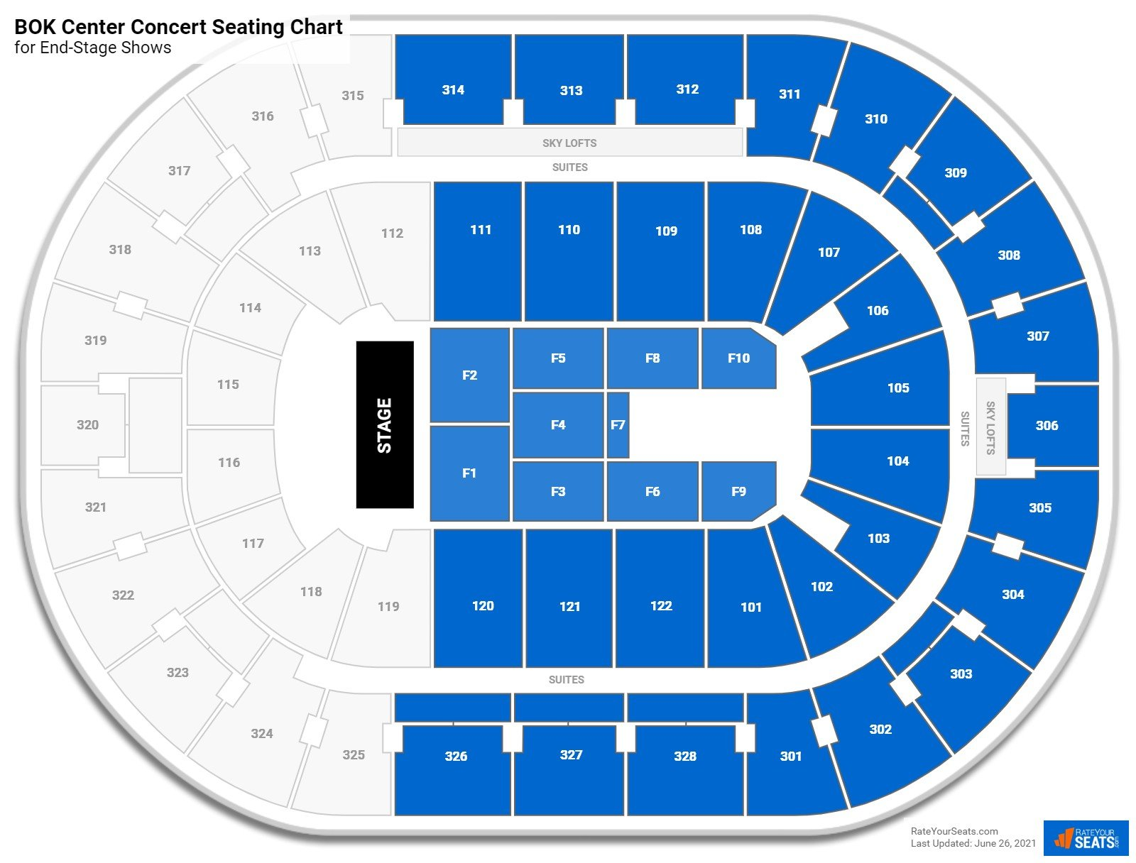 BOK Center Seating Chart for Concerts