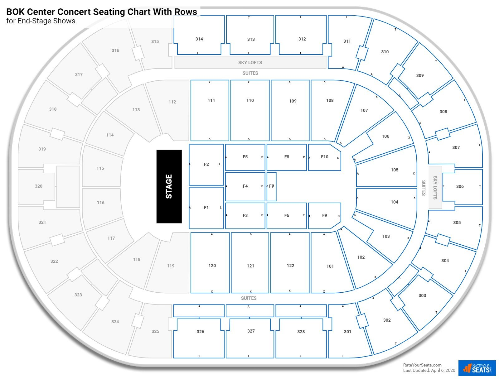 BOK Center seating chart with rows concert