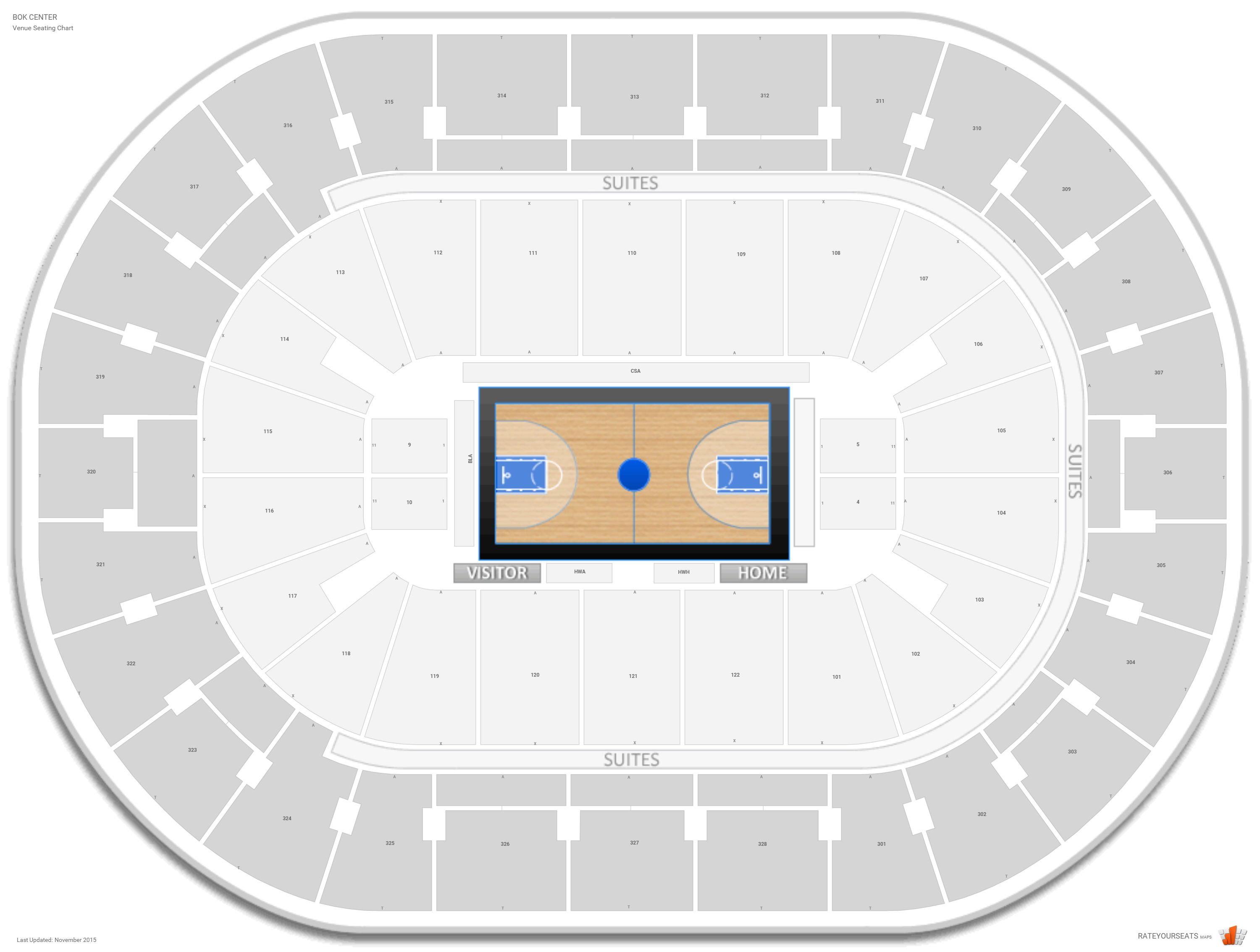 BOK Center Basketball Seating Guide - RateYourSeats.com