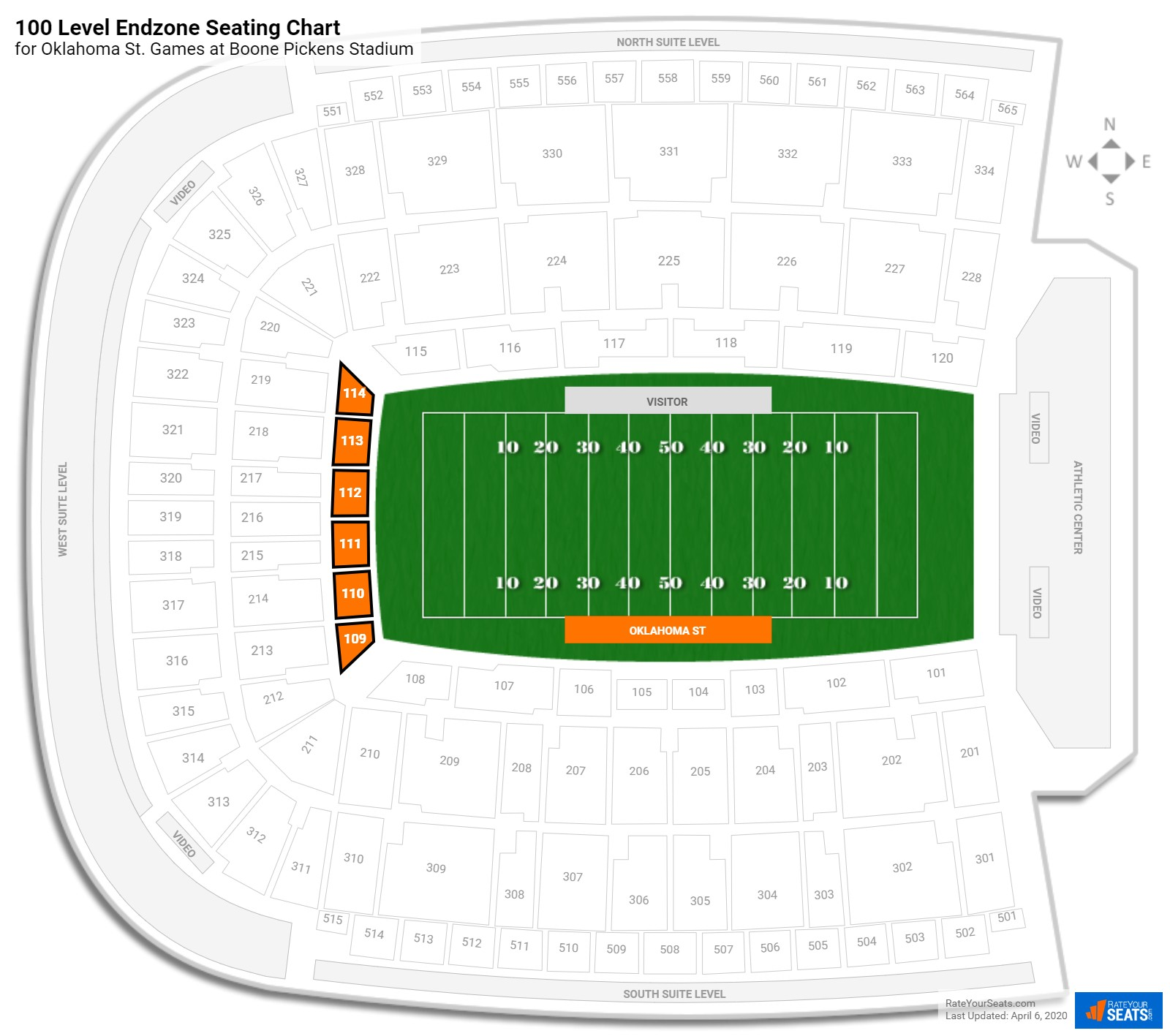 Boone Pickens Stadium 100 Level Endzone seating chart