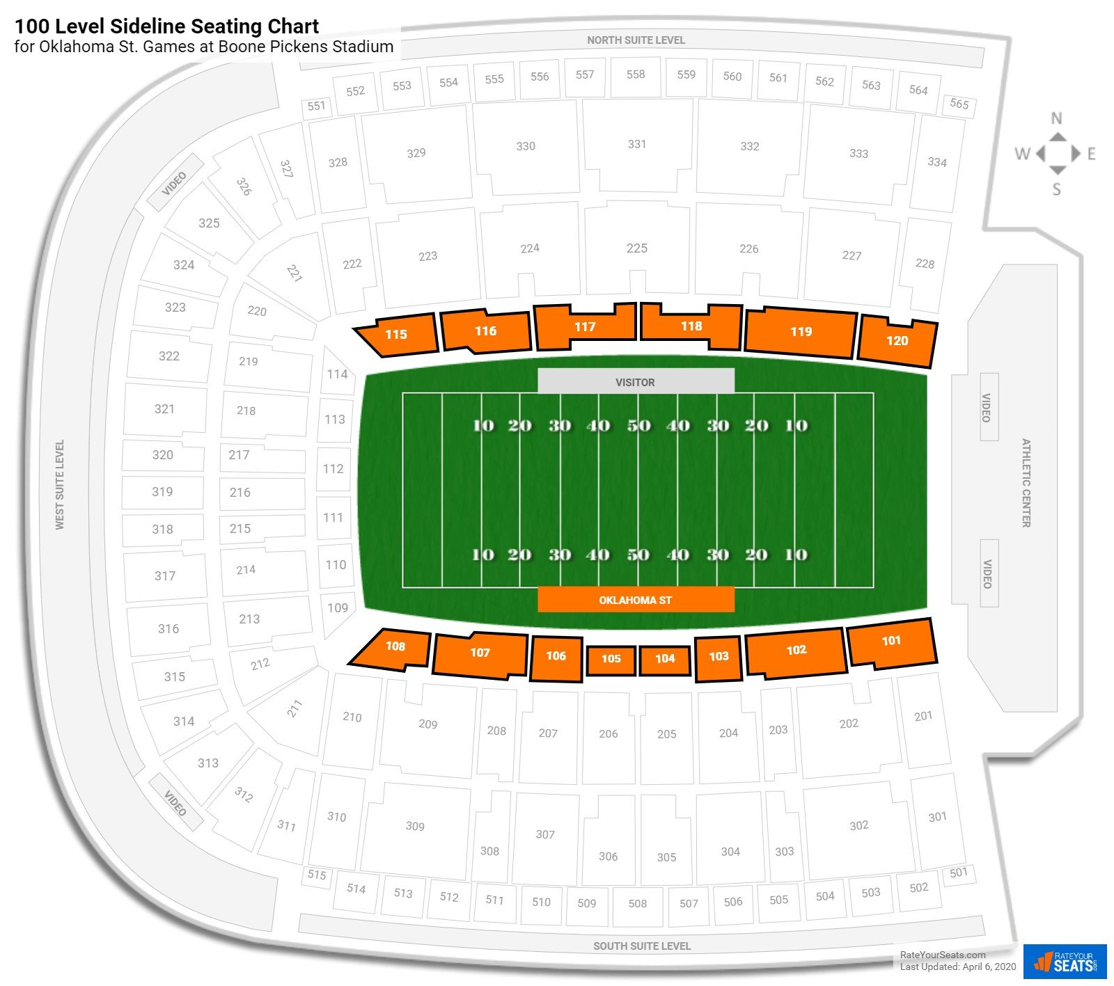 Boone Pickens Stadium 100 Level Sideline seating chart