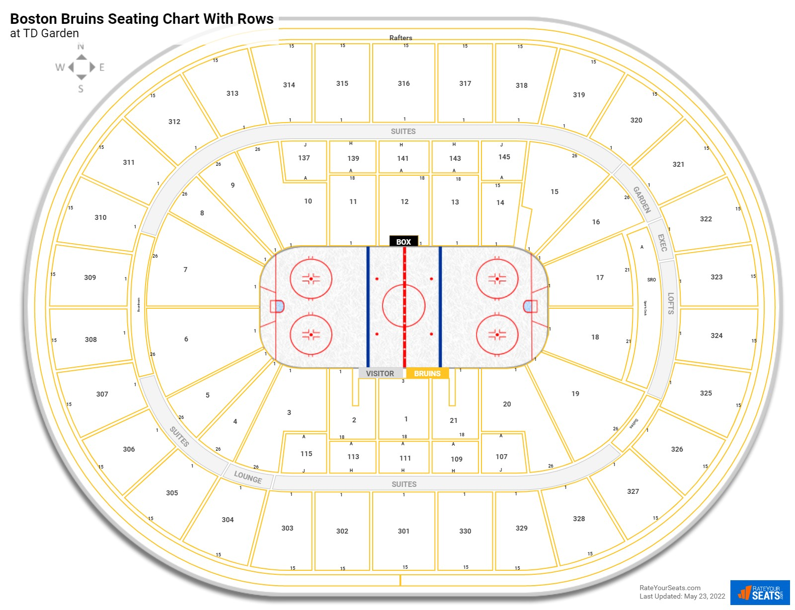 TD Garden seating chart with rows hockey