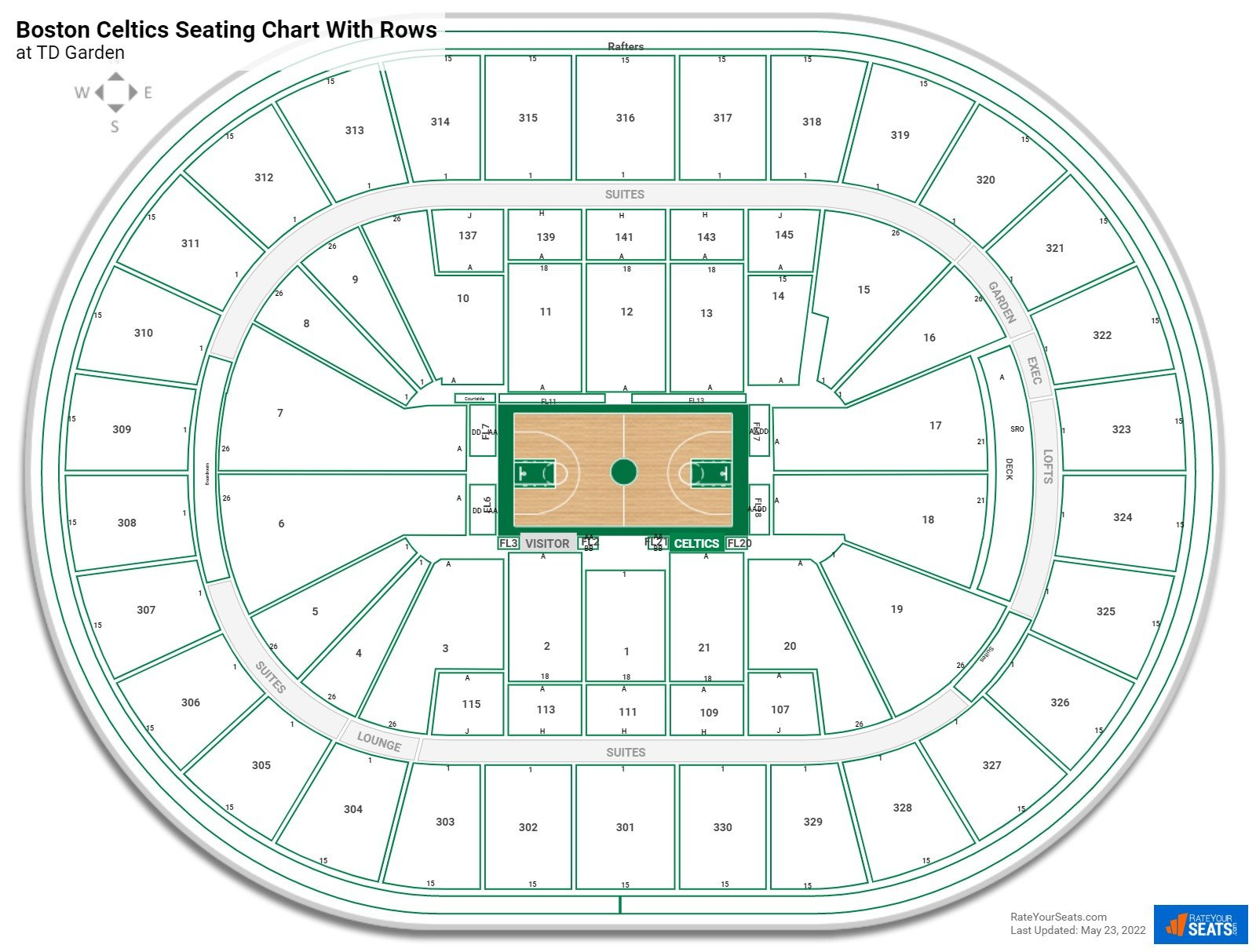 TD Garden seating chart with rows basketball
