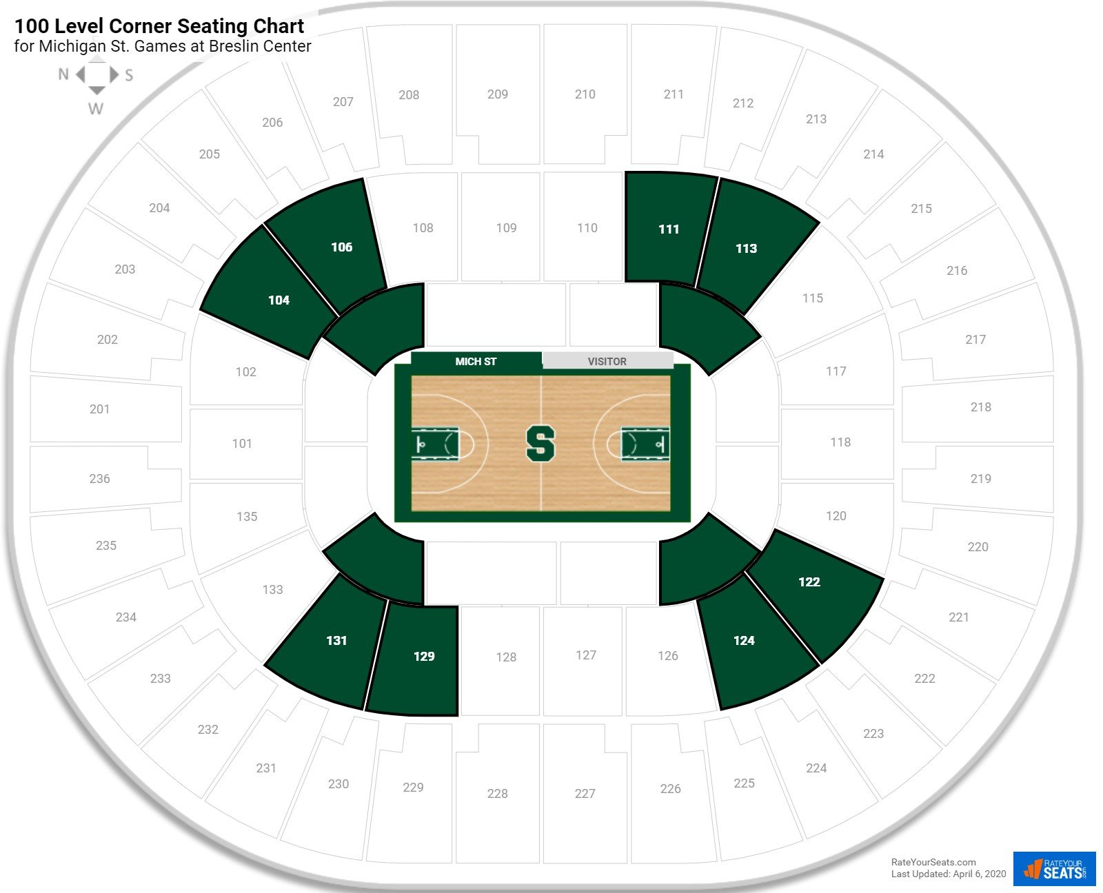 Breslin Center 100 Level Corner Seating Chart
