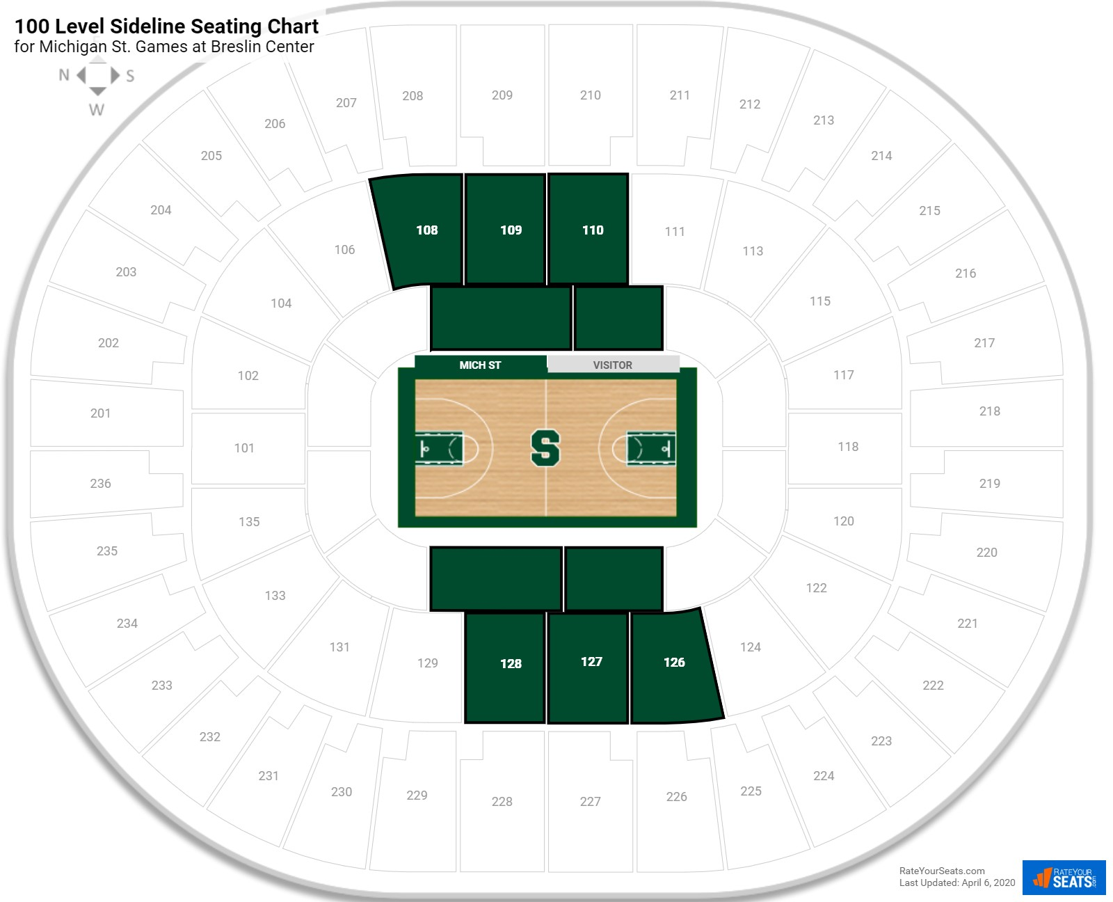 Breslin Center 100 Level Sideline Seating Chart