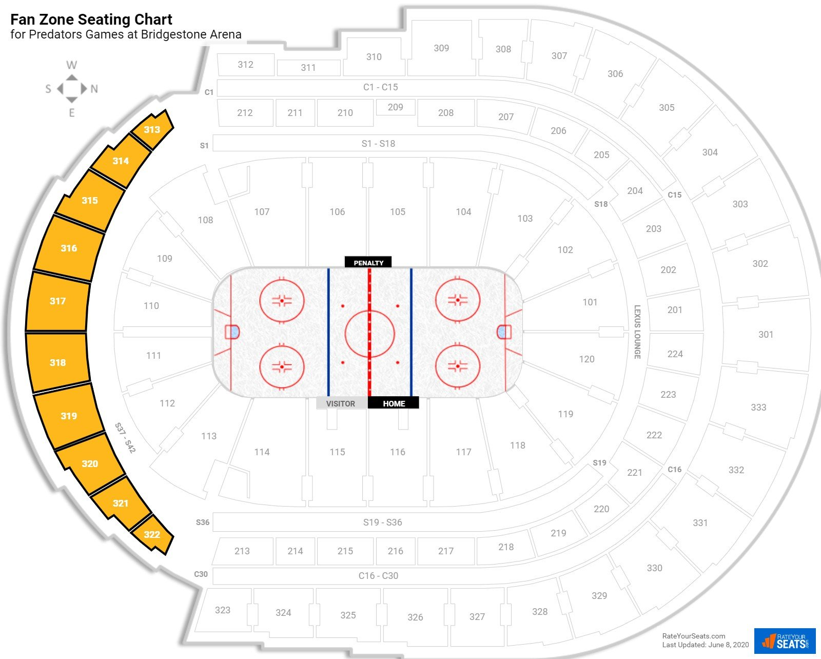 Bridgestone Arena Fan Zone seating chart