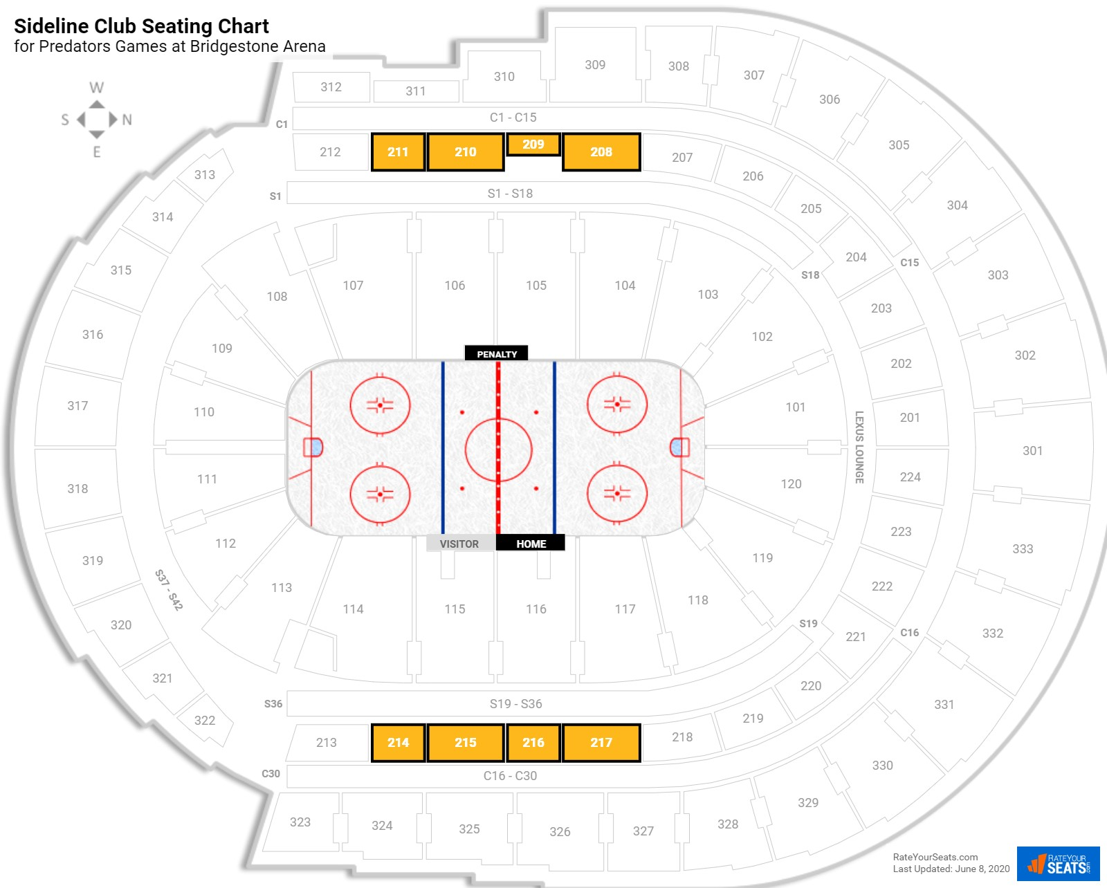 Bridgestone Arena Sideline Club seating chart