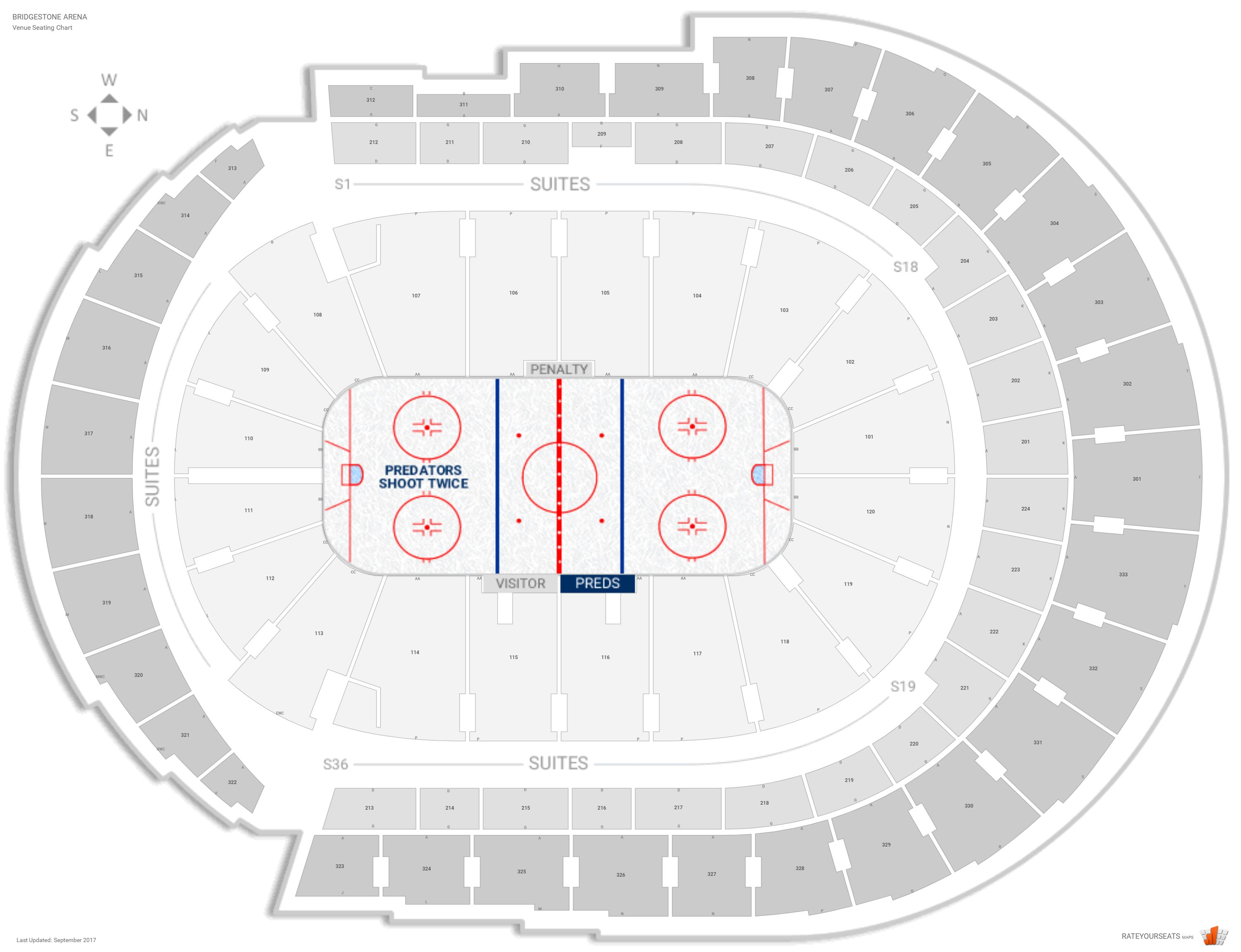 Bridgestone Arena Seating Chart with Row Numbers
