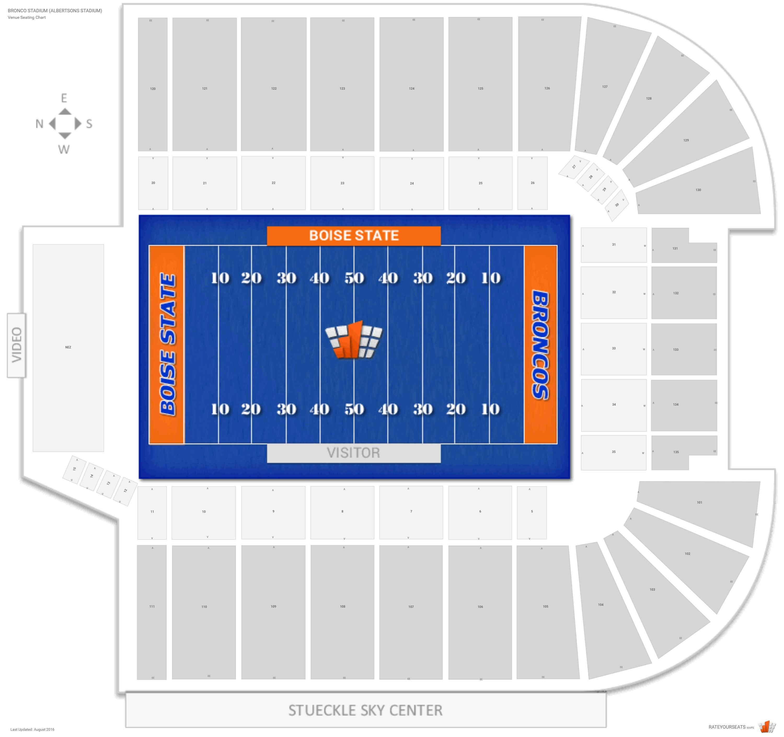 Bronco Stadium Albertsons Seating Chart With Row Numbers