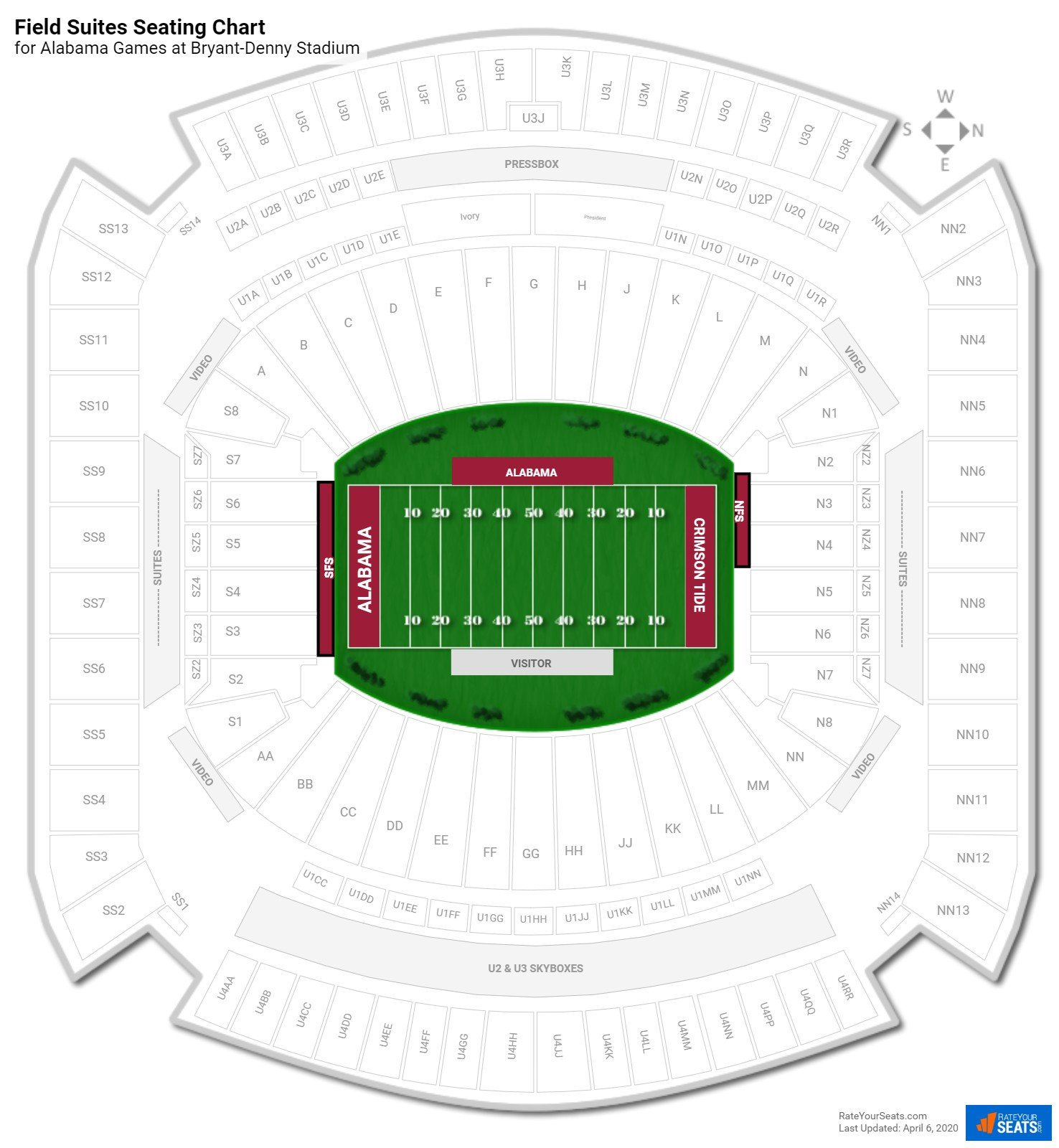 Bryant-Denny Stadium Field Suites seating chart