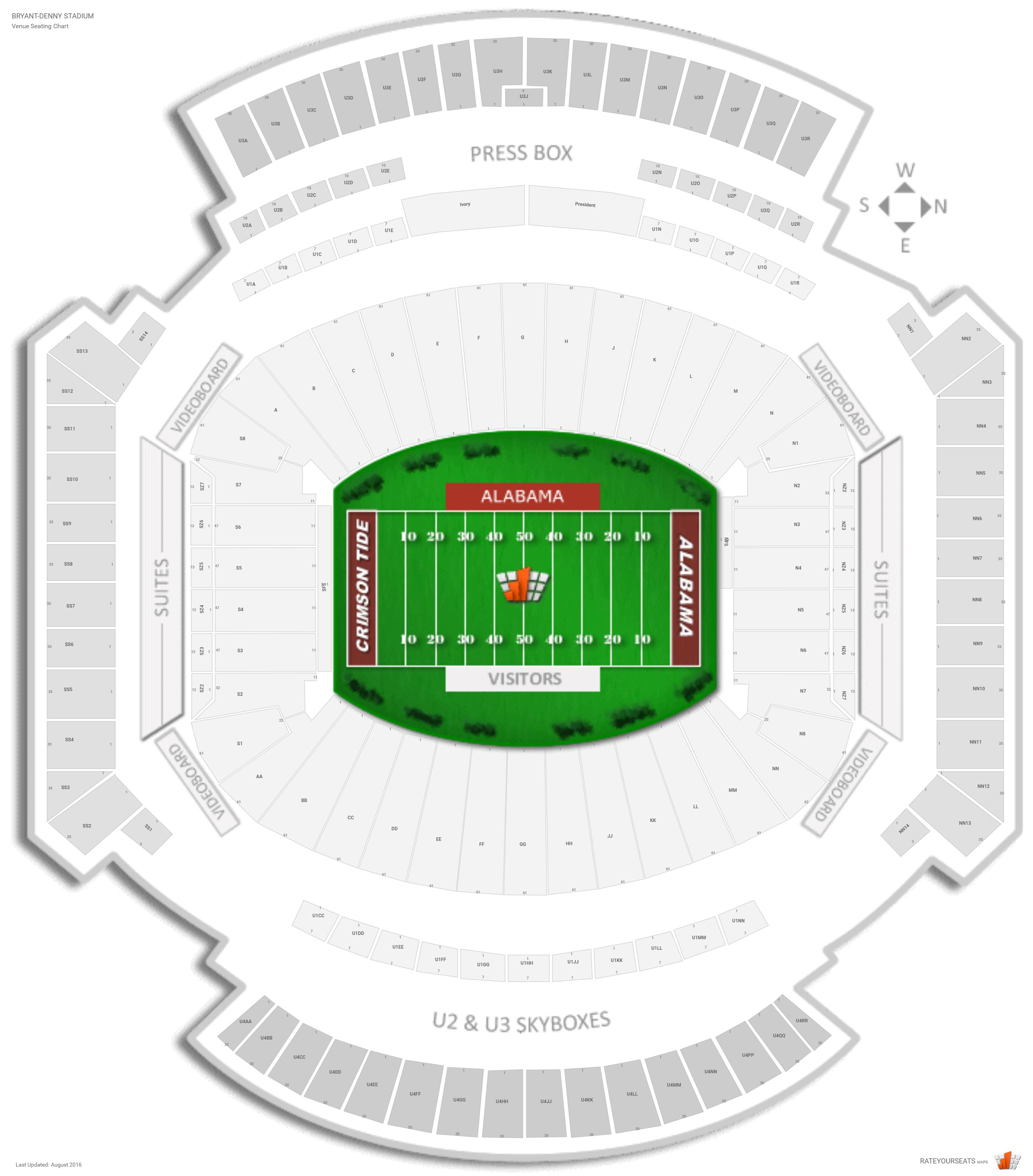 Bryant Denny Stadium Seating Chart With Row Numbers