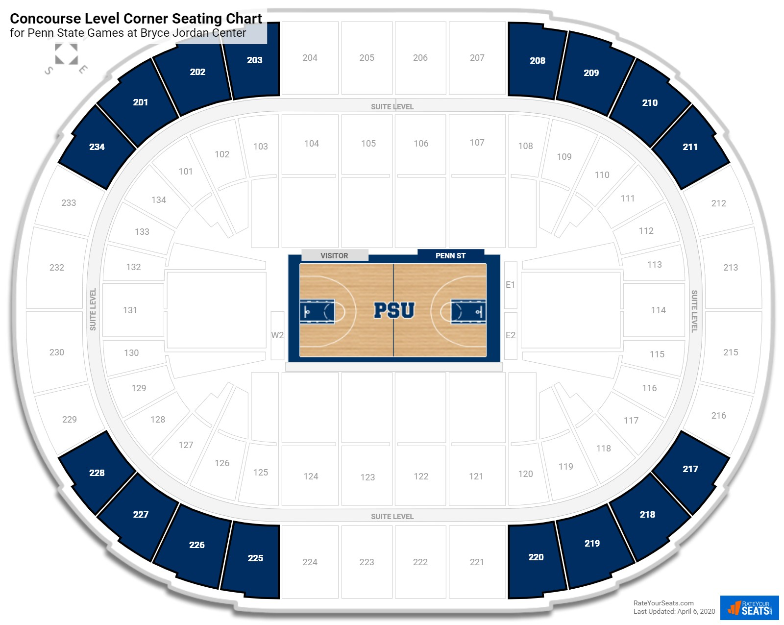Bryce Jordan Center Concourse Level Corner seating chart