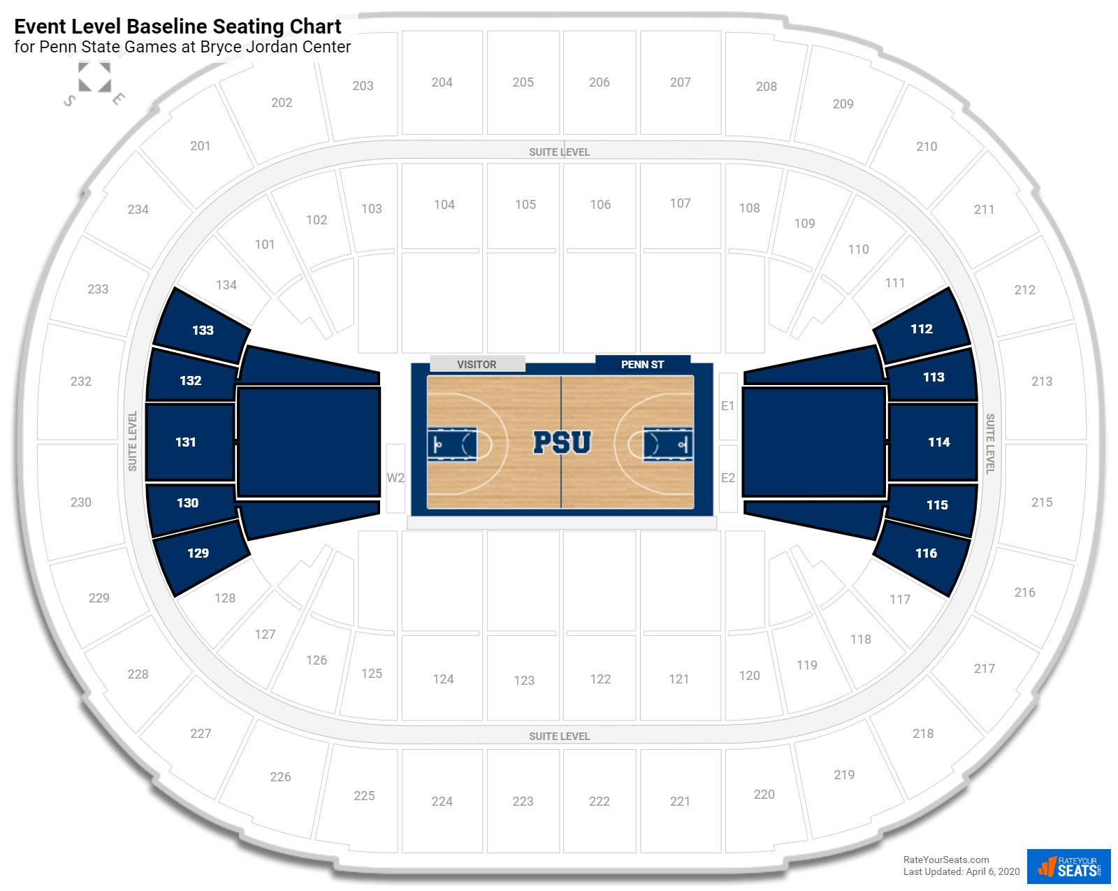 Bryce Jordan Center Event Level Baseline Seating Chart