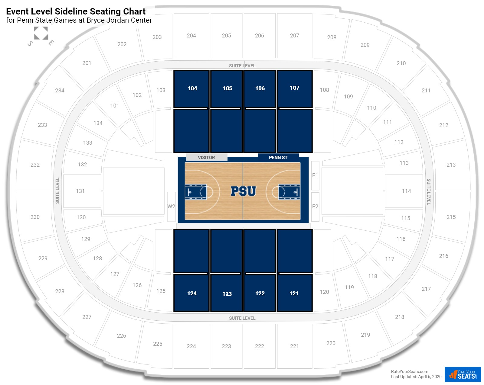 Bryce Jordan Center Event Level Sideline Seating Chart