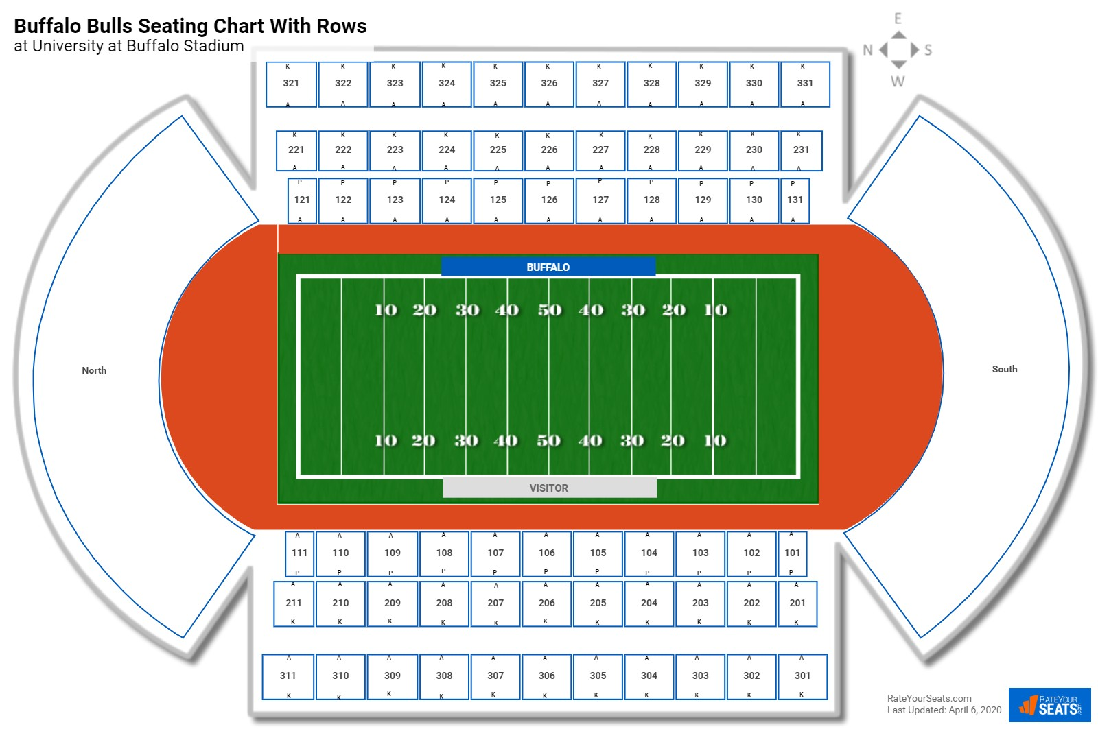 University at Buffalo Stadium seating chart with rows