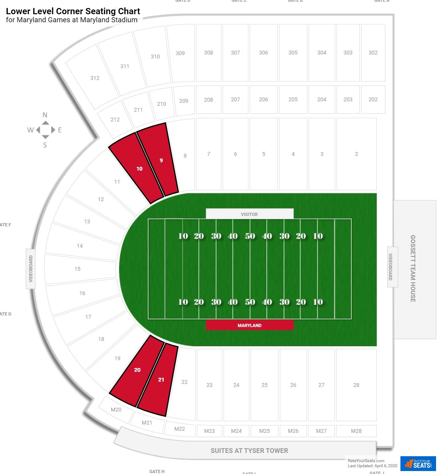 Byrd Stadium Lower Level Corner seating chart