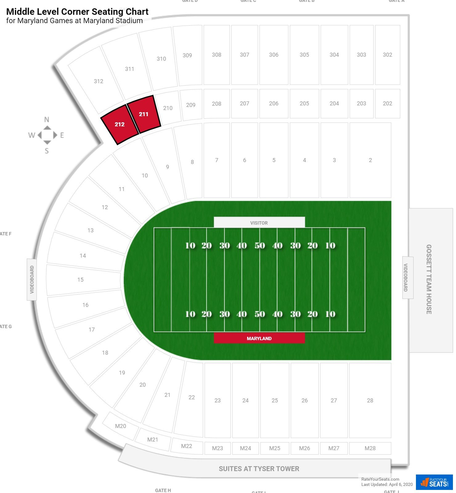 Byrd Stadium Middle Level Corner seating chart