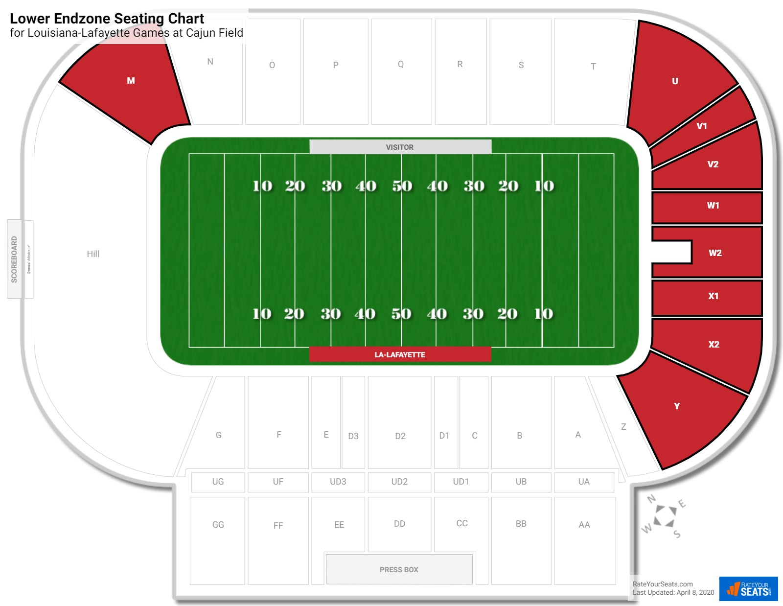 Cajun Field Lower Endzone seating chart