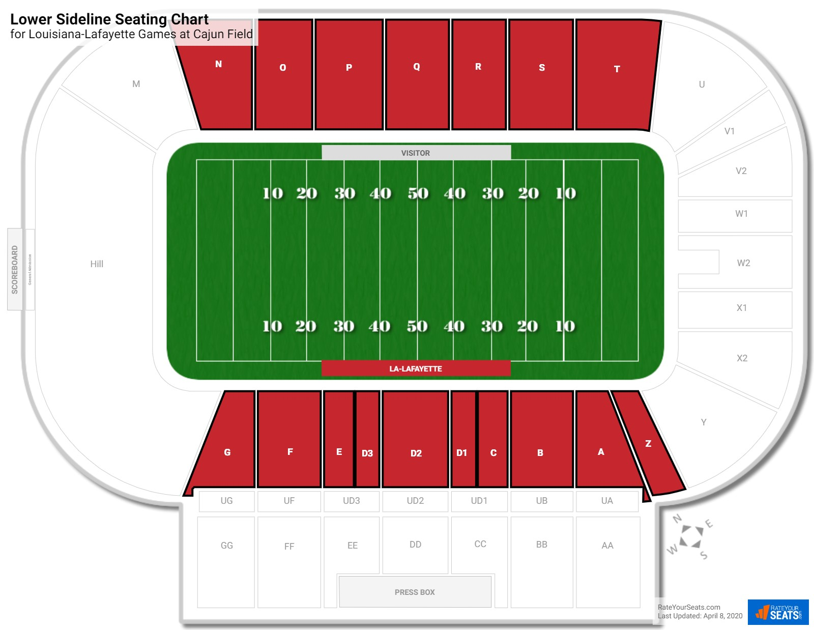 Cajun Field Lower Sideline seating chart