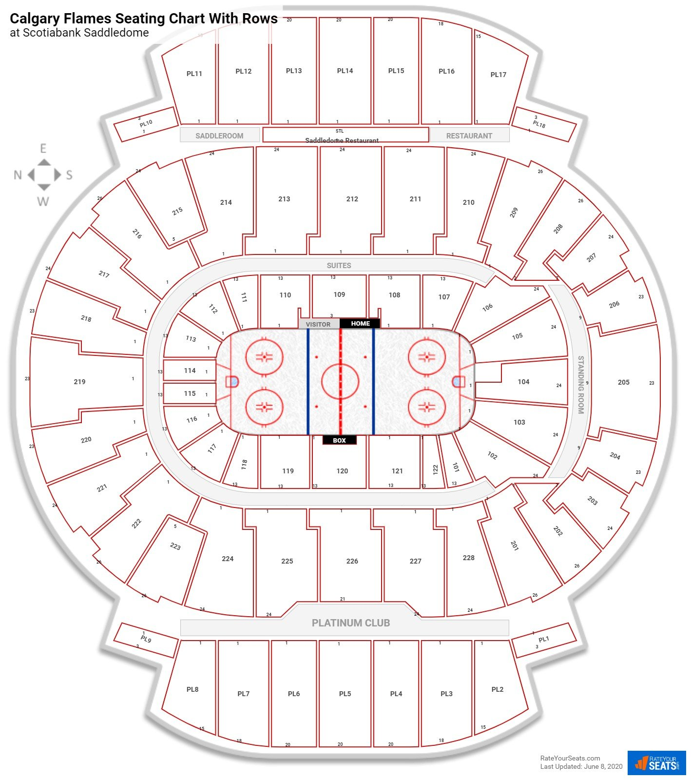 Scotiabank Saddledome seating chart with rows hockey