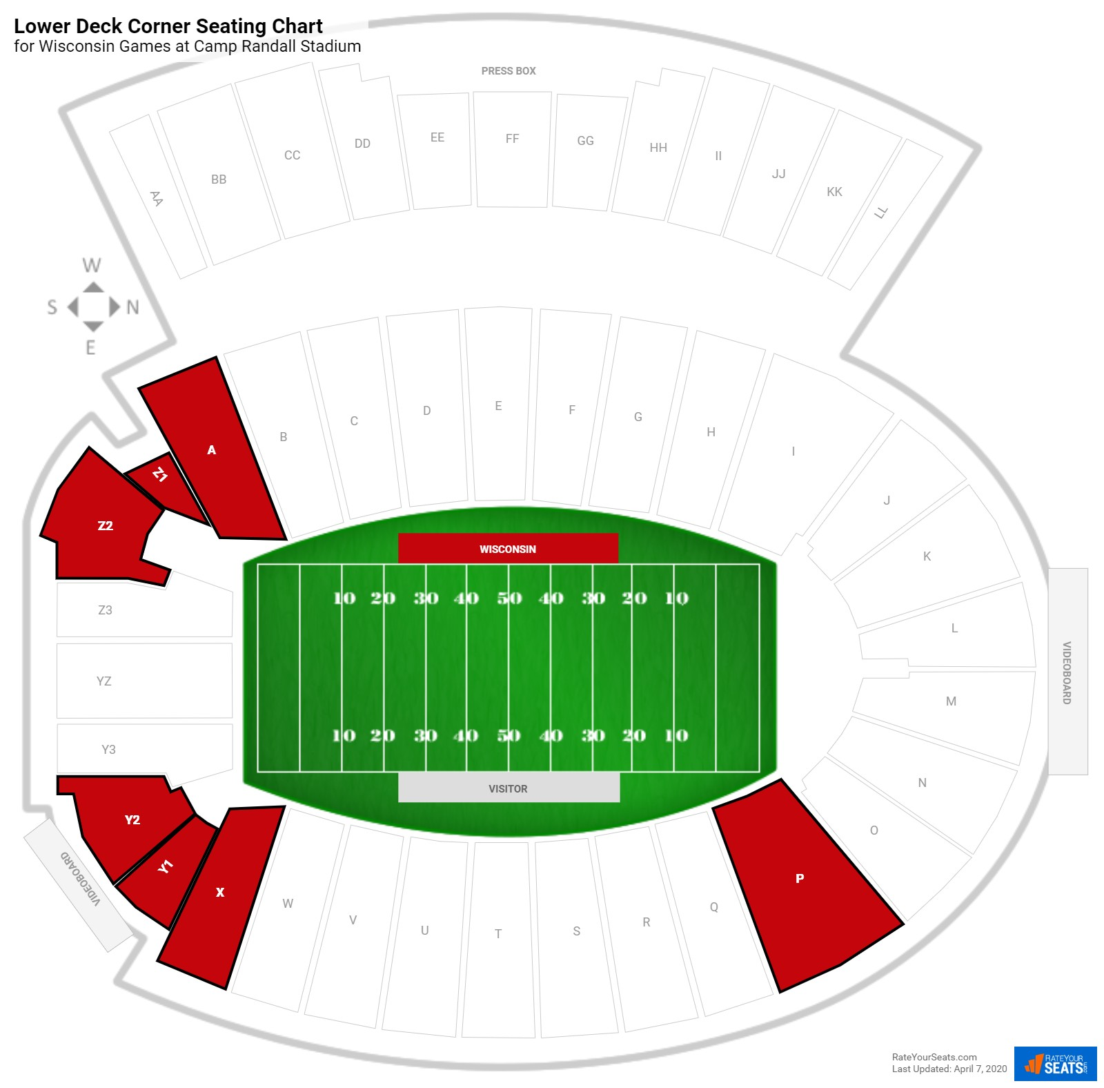 Camp Randall Stadium Lower Deck Corner seating chart