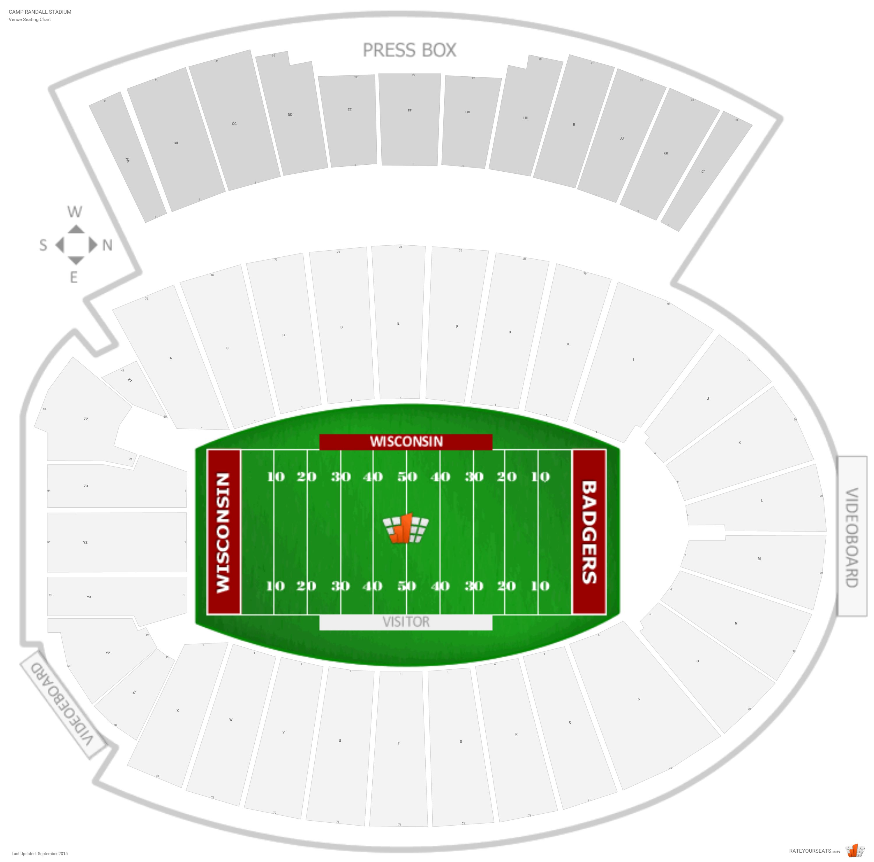 camp randall stadium wisconsin seating guide. Black Bedroom Furniture Sets. Home Design Ideas