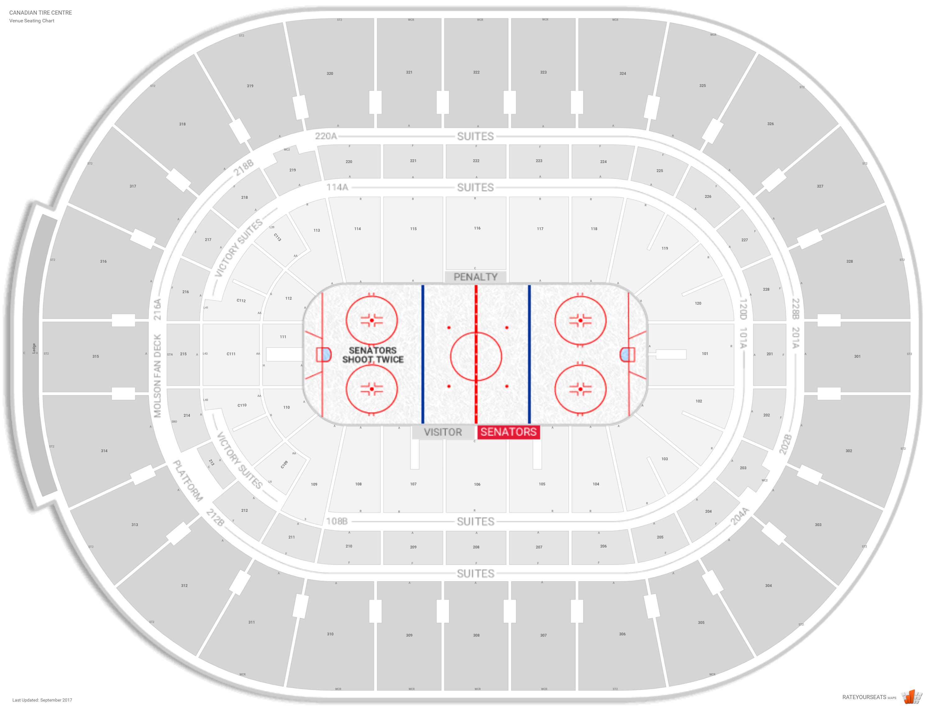 Canadian Tire Centre Seating Map Ottawa Senators Seating Guide   Canadian Tire Centre