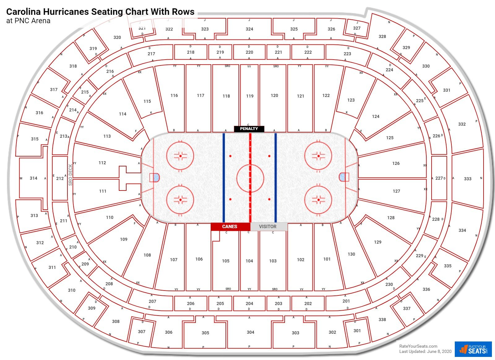 PNC Arena seating chart with rows hockey