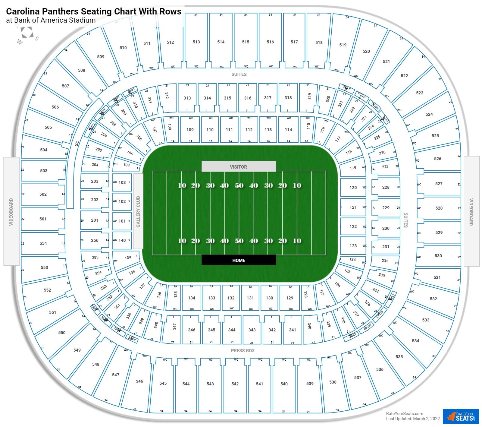 Bank of America Stadium seating chart with rows