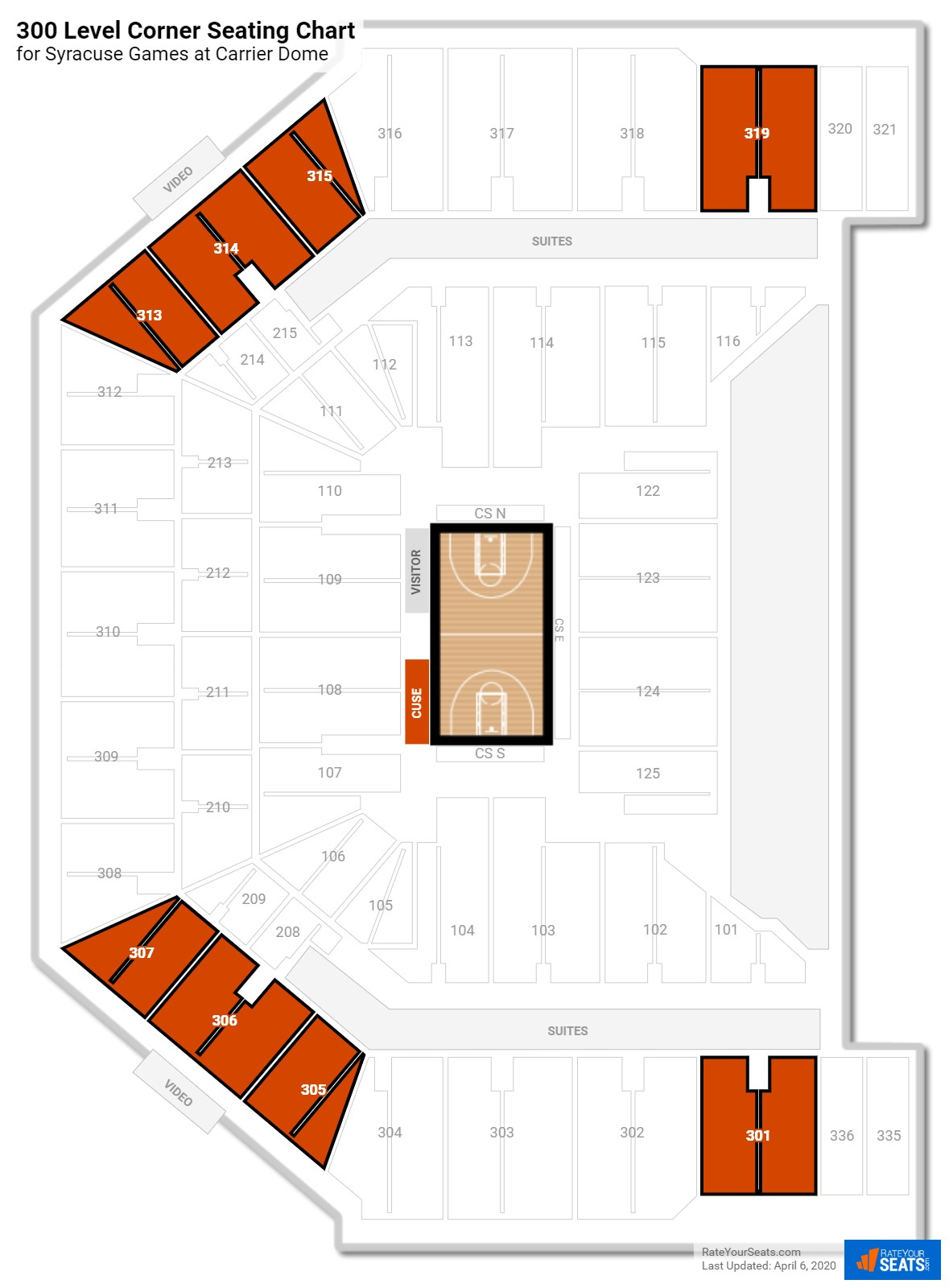 Carrier Dome 300 Level Corner seating chart