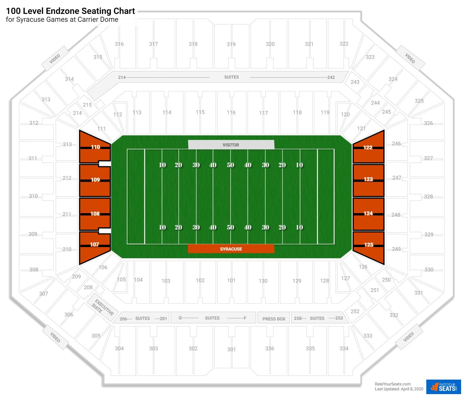 Carrier Dome 100 Level Endzone seating chart