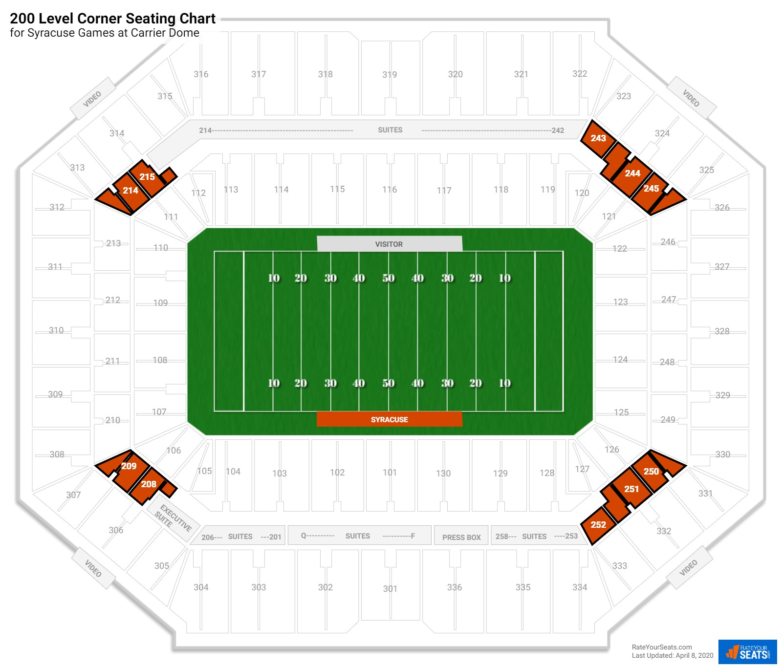 Carrier Dome 200 Level Corner seating chart