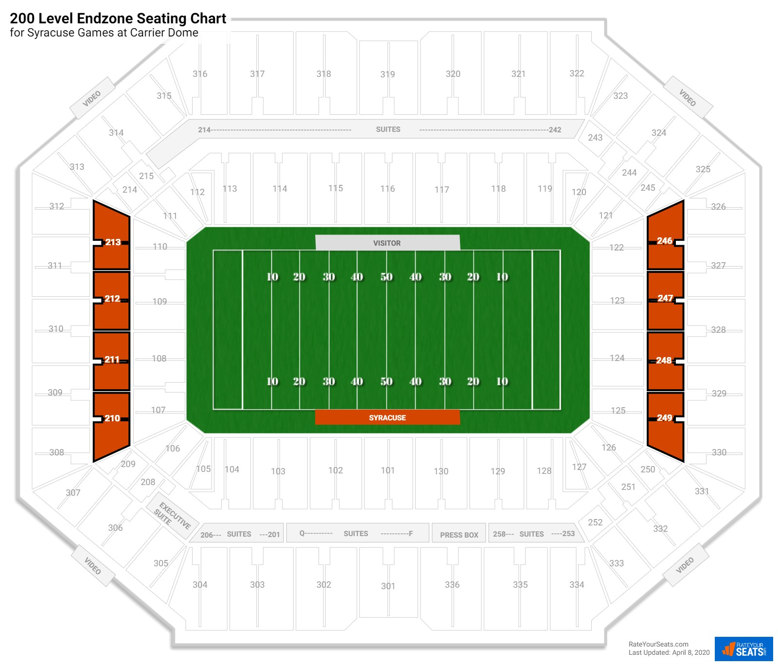 Carrier Dome 200 Level Endzone seating chart