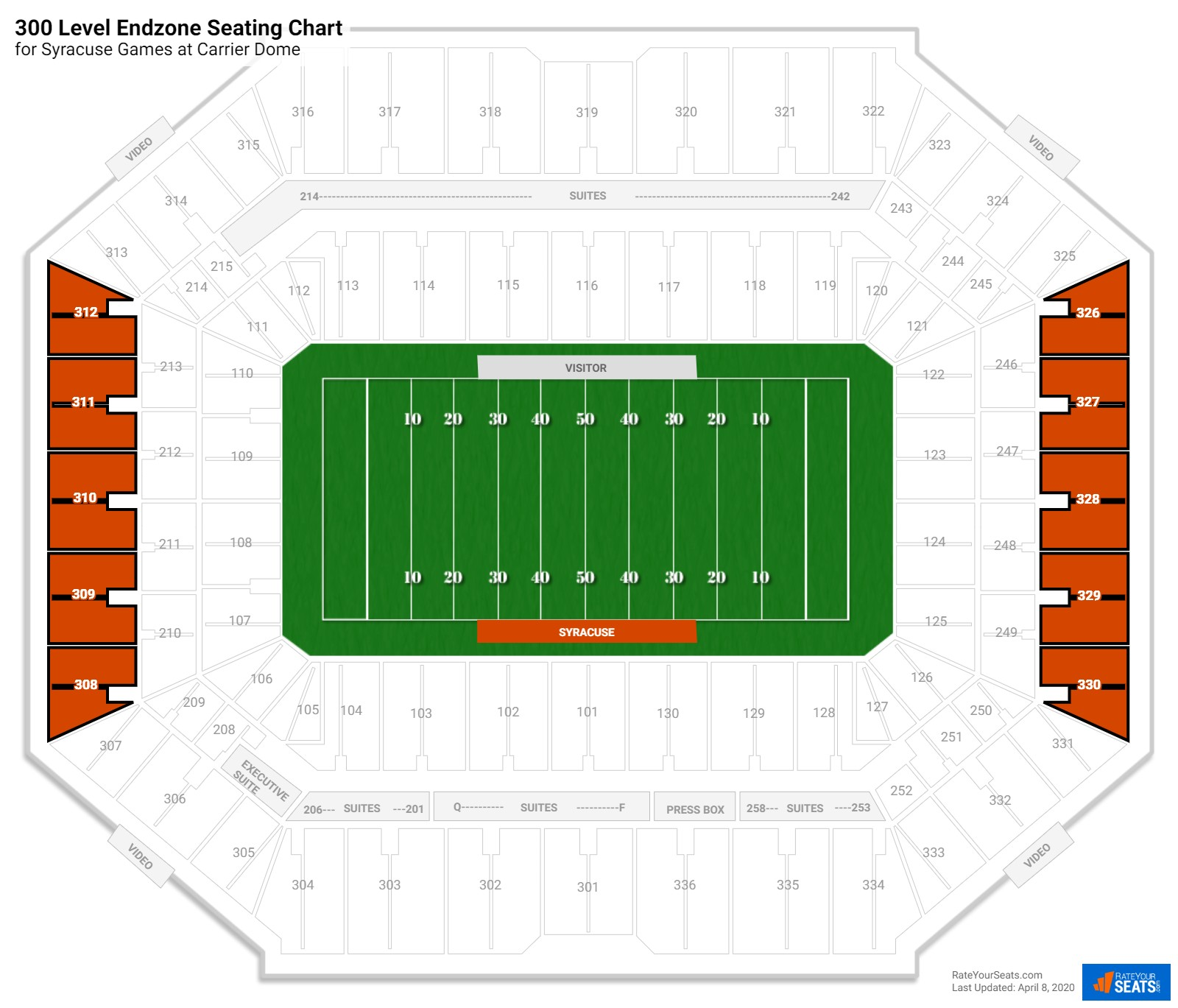 Carrier Dome 300 Level Endzone seating chart