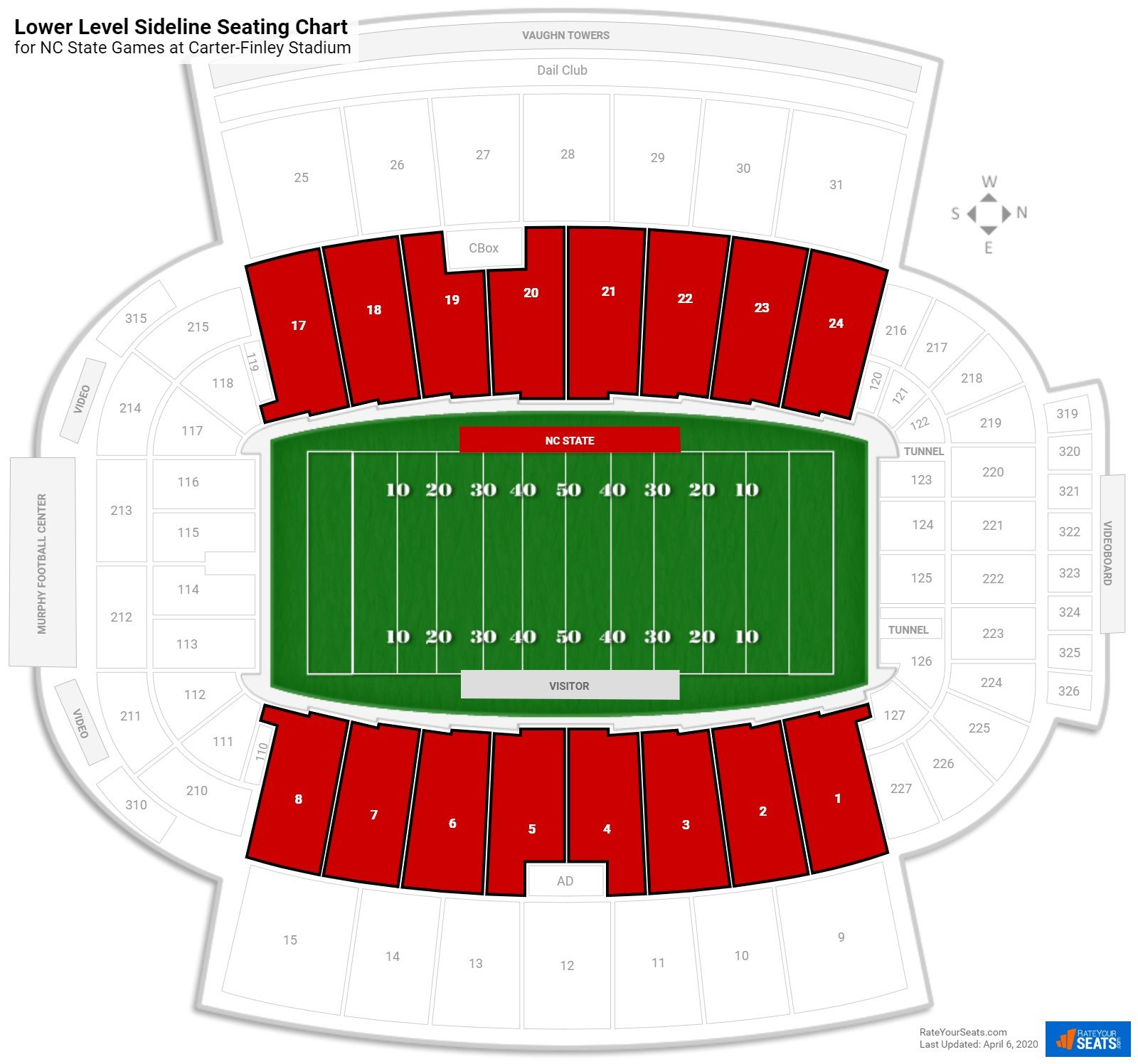 Carter-Finley Stadium Lower Level Sideline seating chart