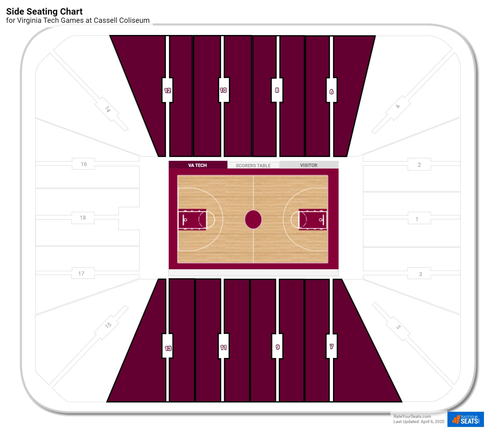 Cassell Coliseum (Virginia Tech) Seating Guide ...