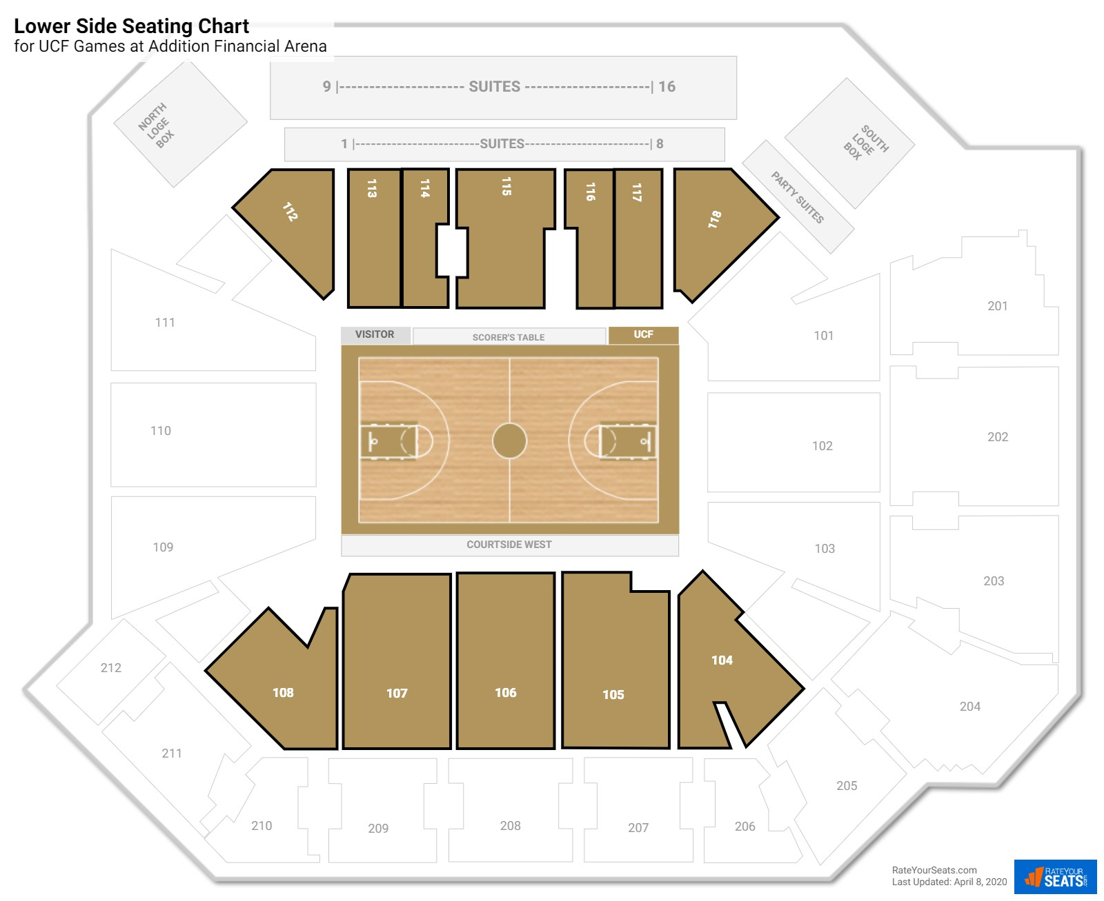 CFE Arena Lower Sideline seating chart