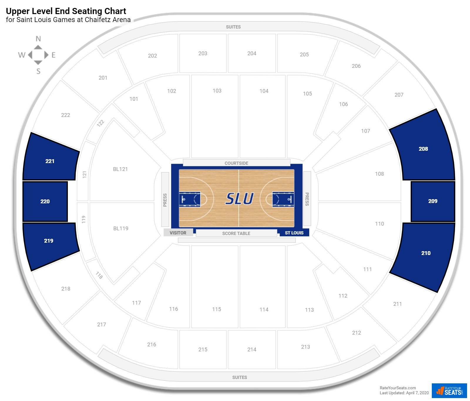 Chaifetz Arena Upper Level End seating chart