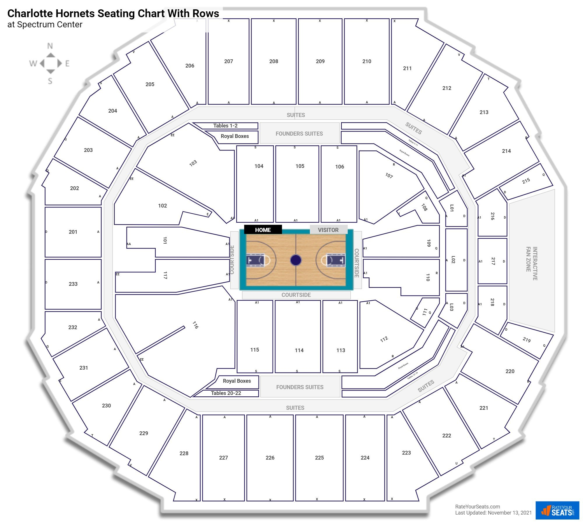Spectrum Center seating chart with rows basketball