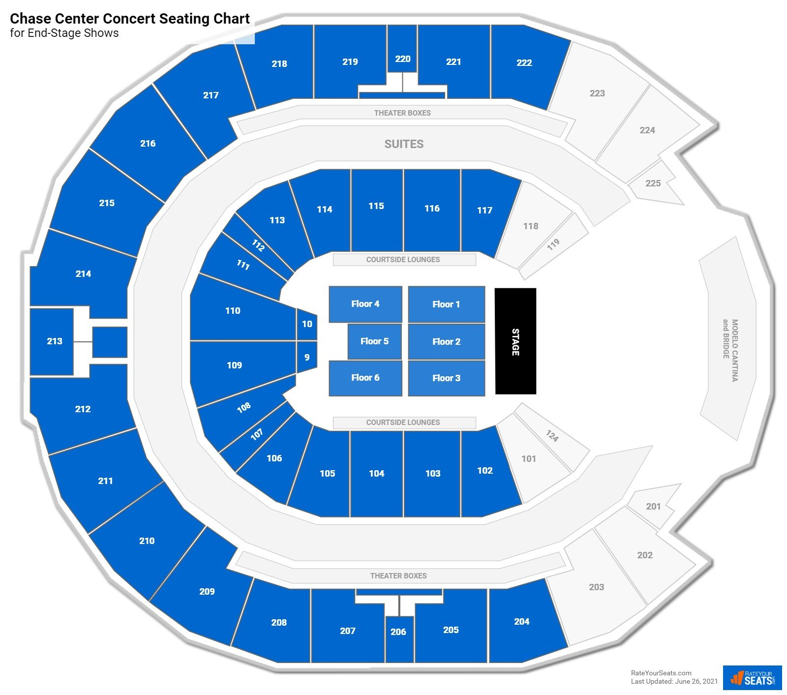 Chase Center Seating Charts For Concerts Rateyourseats Com