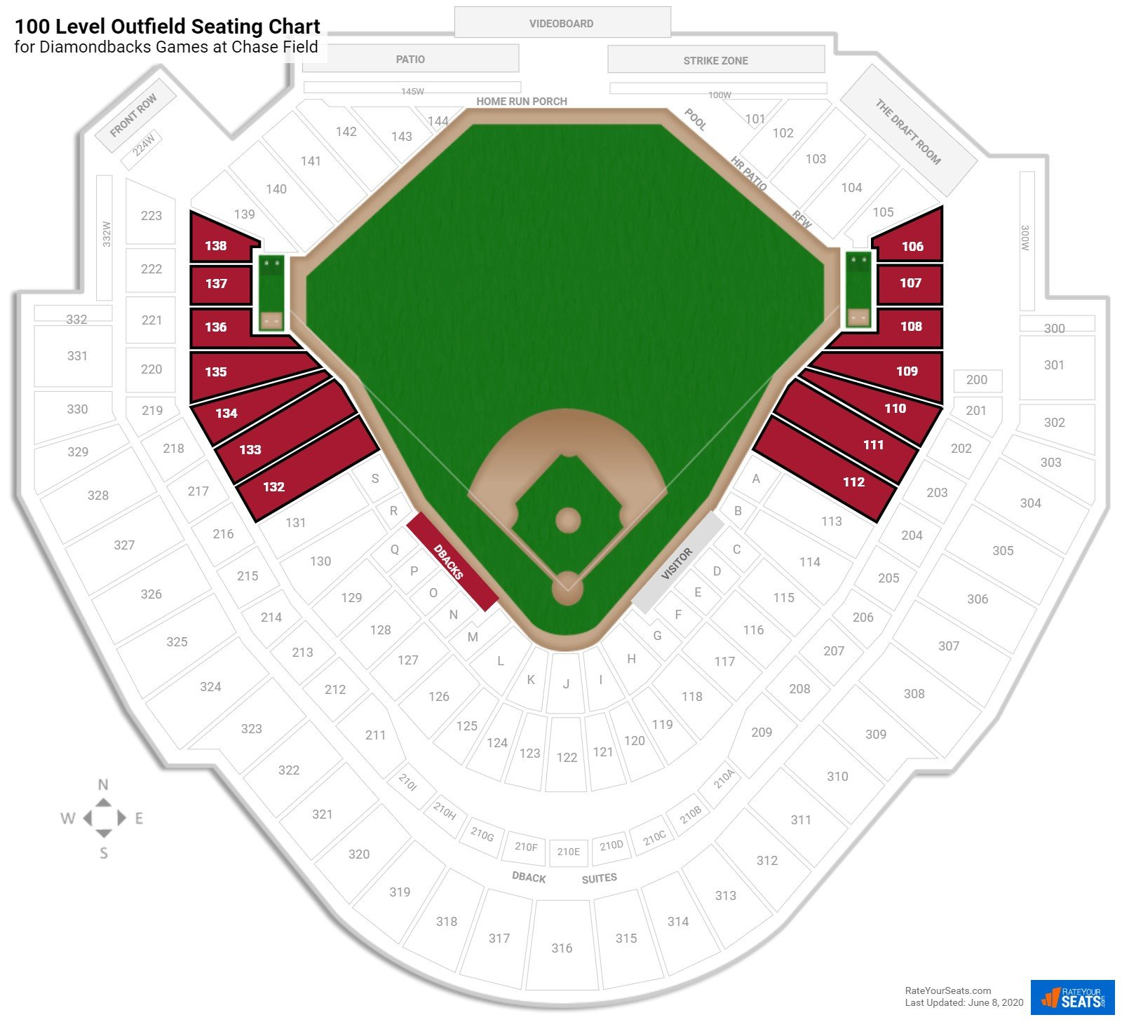 Chase Field 100 Level Outfield seating chart