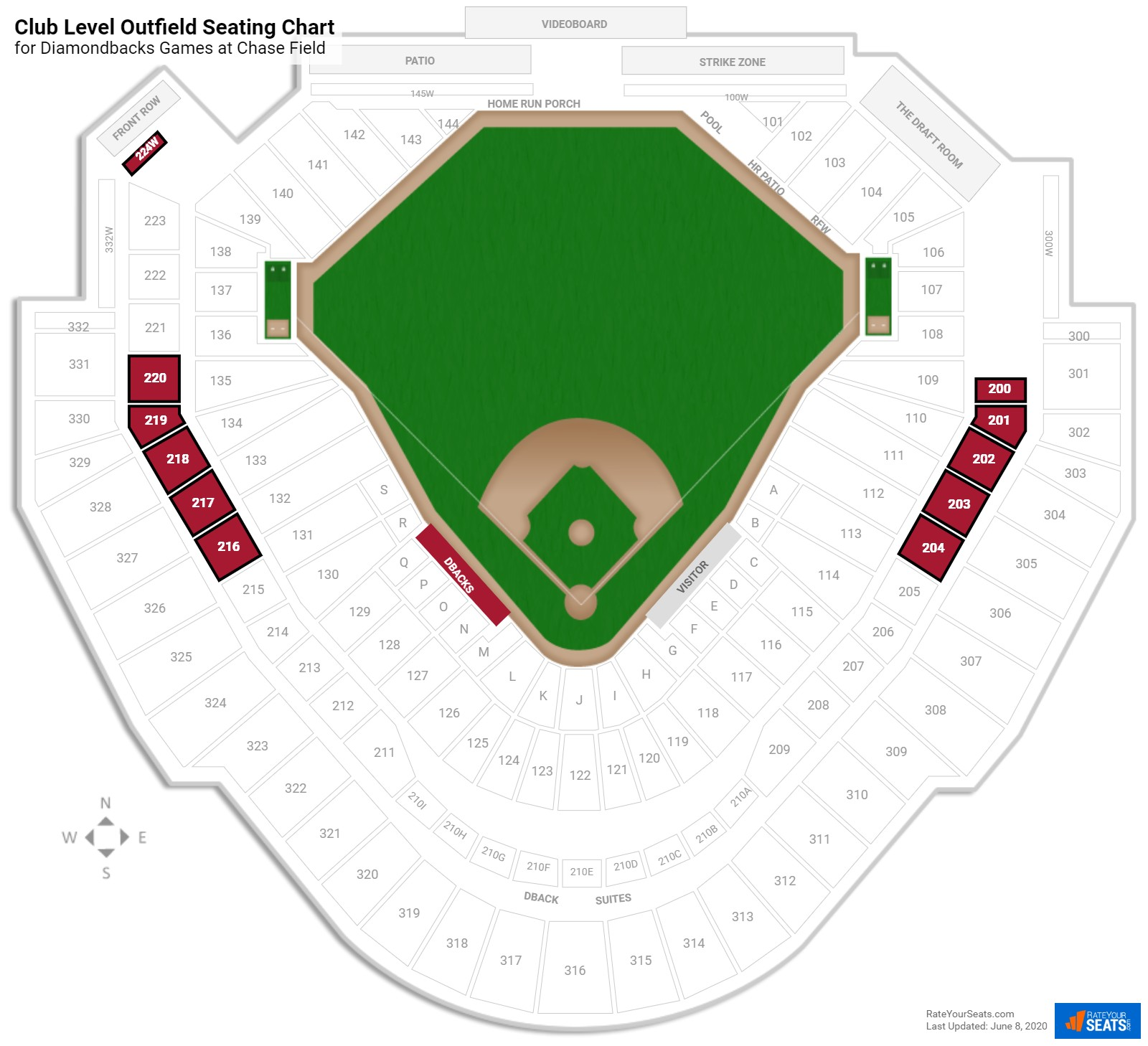 Chase Field Club Level Outfield seating chart