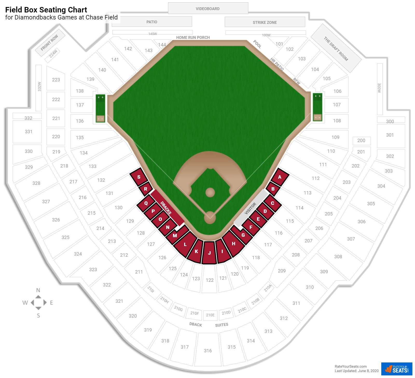 Chase Field Field Level Infield seating chart