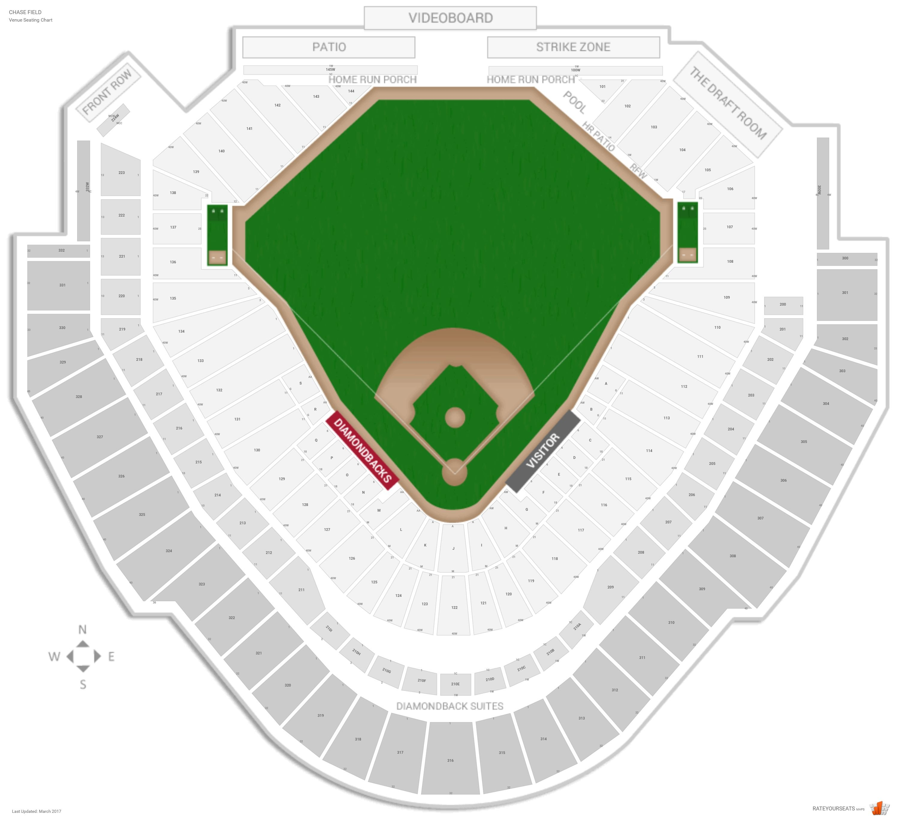 Chase Field Seating Chart With Row Numbers