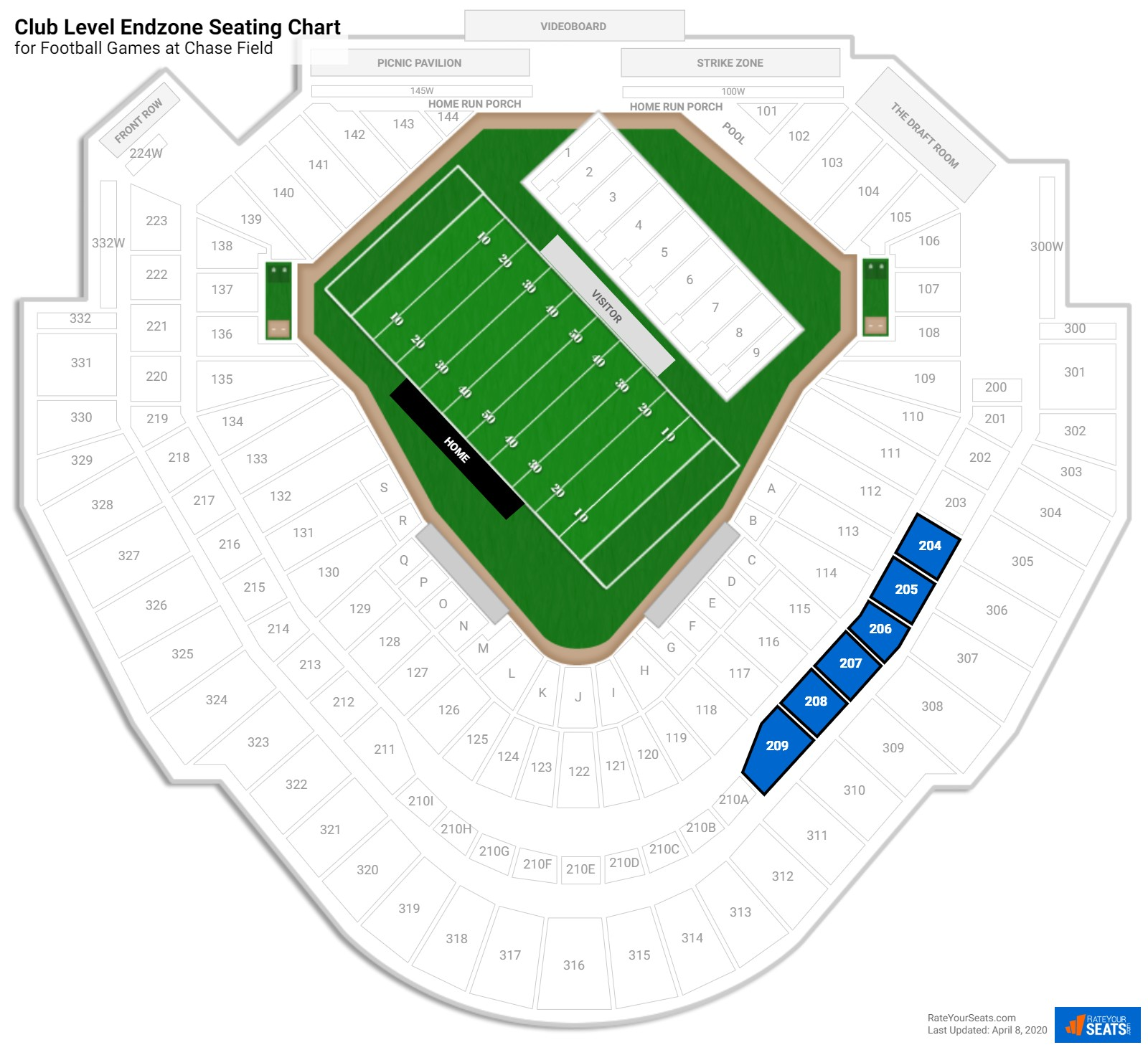 Chase Field Club Level Endzone seating chart