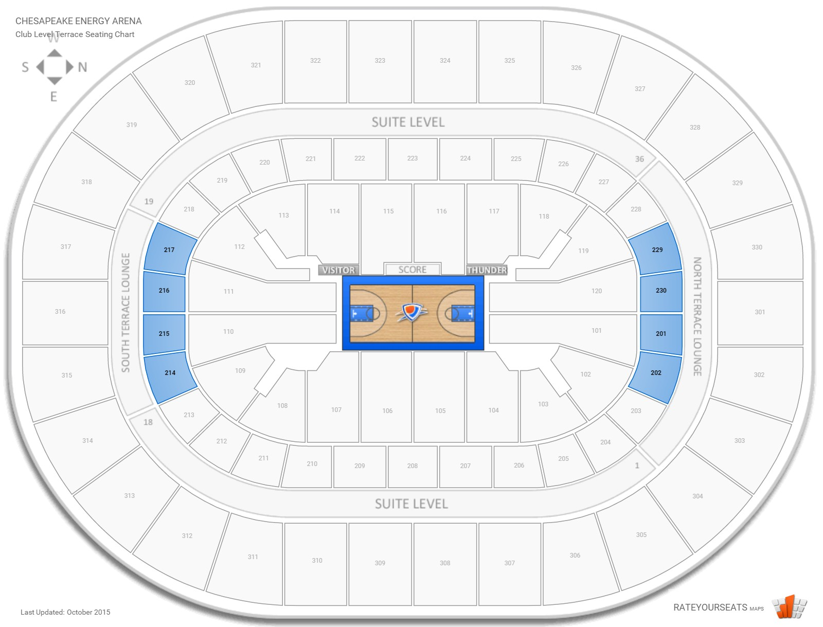 Chesapeake Energy Arena Club Level Lower Terrace seating chart