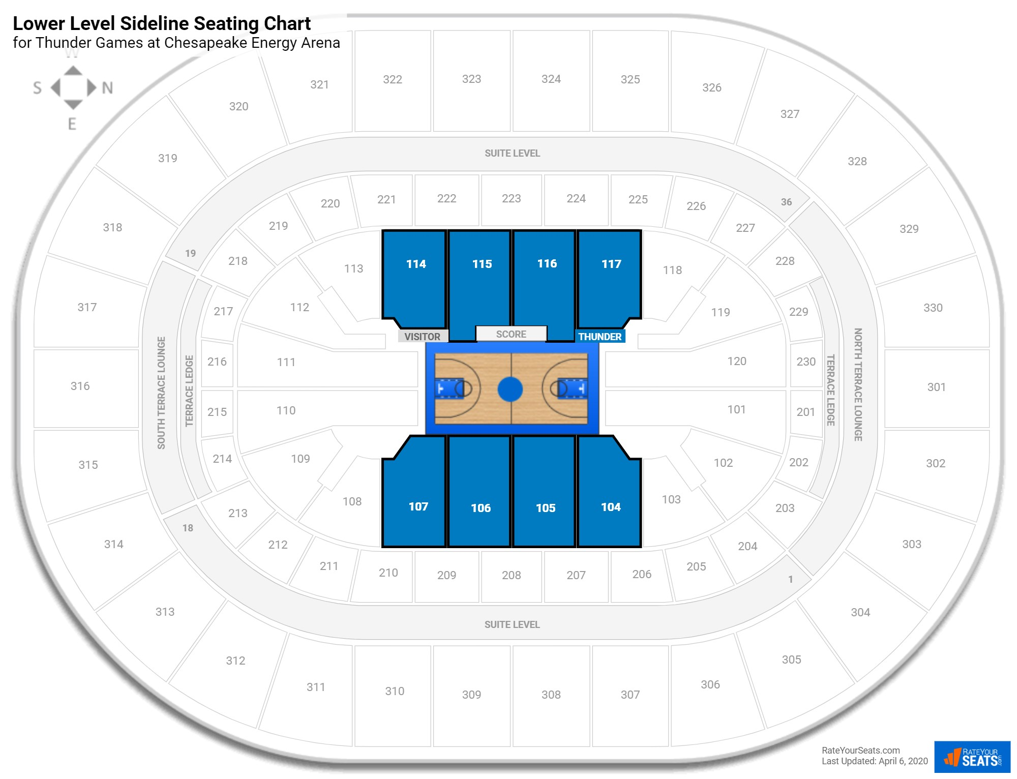 Chesapeake Energy Arena Lower Level Sideline seating chart